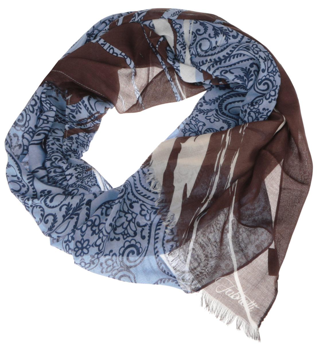Шарф женский Fabretti, цвет: голубой, темно-коричневый. DS2015-001-4. Размер 184 см х 70 смDS2015-001-4Модный женский шарф Fabretti подарит вам уют и станет стильным аксессуаром, который призван подчеркнуть вашу индивидуальность и женственность. Тонкий шарф выполнен из высококачественного модала с добавлением вискозы, он невероятно мягкий и приятный на ощупь. Шарф оформлен принтом с оригинальным цветочным орнаментом.Этот модный аксессуар гармонично дополнит образ современной женщины, следящей за своим имиджем и стремящейся всегда оставаться стильной и элегантной. Такой шарф украсит любой наряд и согреет вас в непогоду, с ним вы всегда будете выглядеть изысканно и оригинально.
