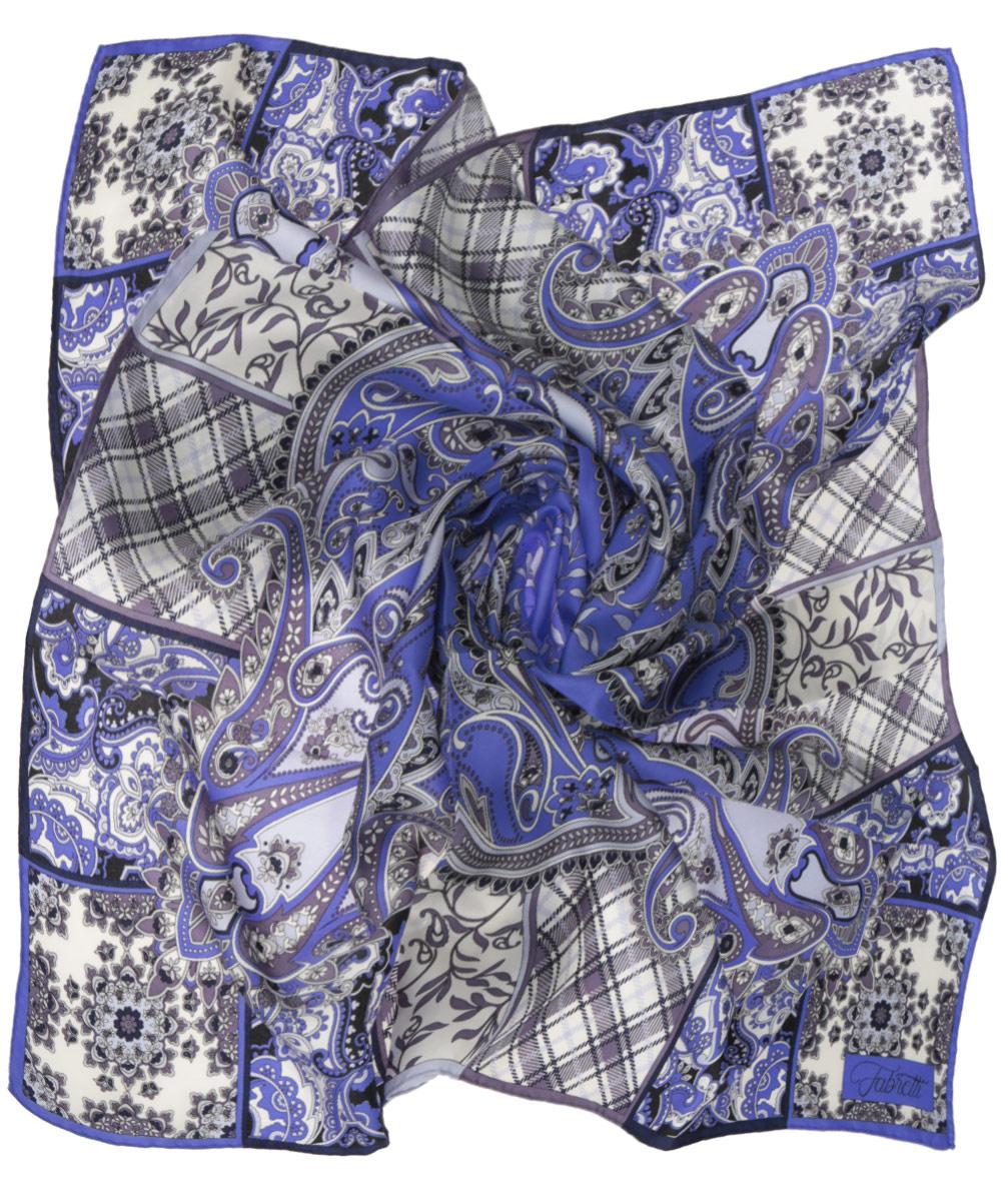 Платок женский Fabretti, цвет: сине-голубой, бежевый. CX1516-53-2. Размер 90 см х 90 смCX1516-53-2Стильный женский платок Fabretti станет великолепным завершением любого наряда. Платок изготовлен из высококачественного 100% шелка и оформлен оригинальным принтом с красочным цветочным этническим орнаментом. Классическая квадратная форма позволяет носить платок на шее, украшать им прическу или декорировать сумочку. Мягкий и шелковистый платок поможет вам создать изысканный женственный образ, а также согреет в непогоду. Такой платок превосходно дополнит любой наряд и подчеркнет ваш неповторимый вкус и элегантность.