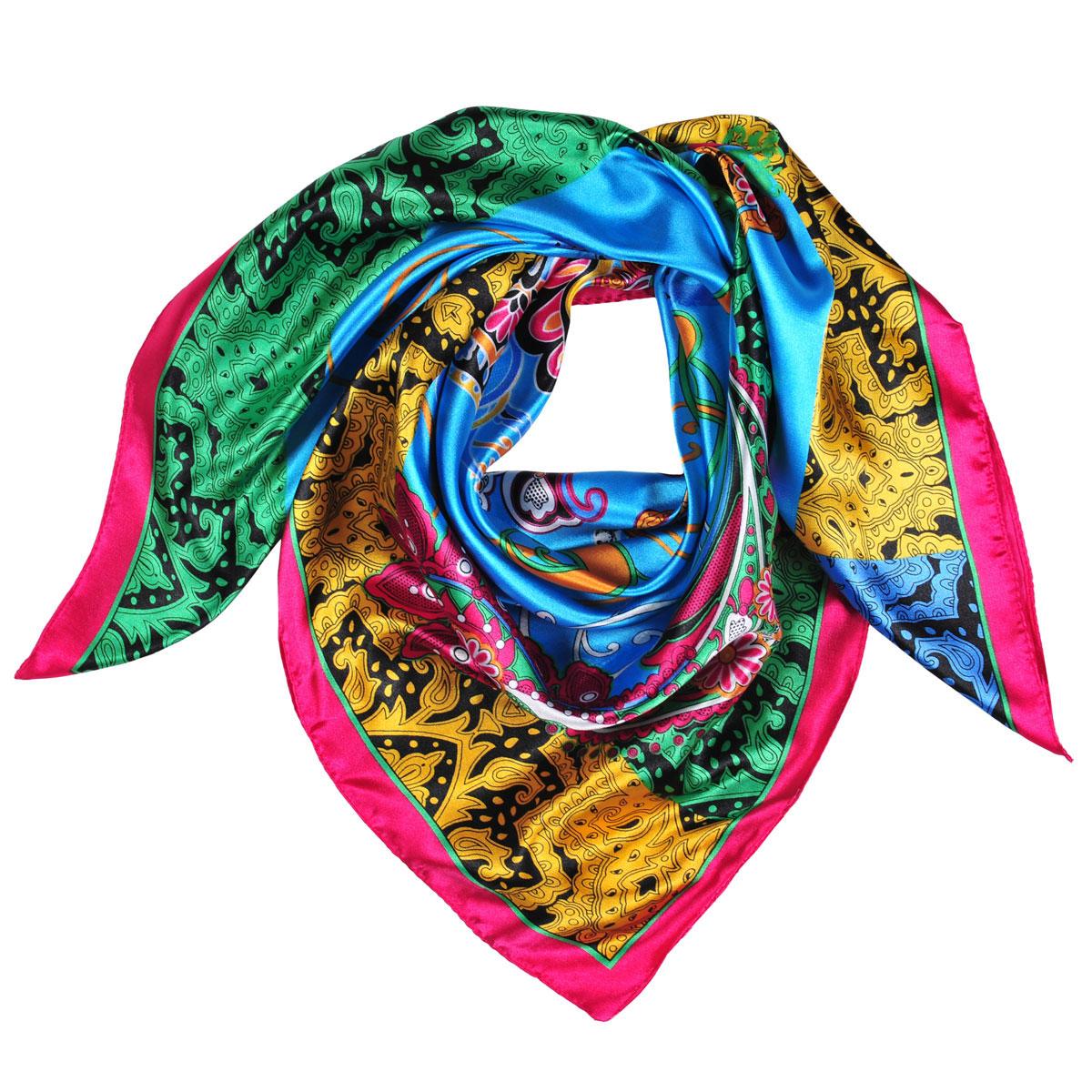 Платок женский Модные истории, цвет: голубой, черный, зеленый. 23/0455/181. Размер 90 см х 90 см23/0455/181Легкий платок с принтом пейслиподчеркнет ваш стильный образ. Он выполнен из шелка и полиэстера. Легко и красиво драпируется.Этот модный аксессуар женского гардероба гармонично дополнит образ современной женщины, следящей за своим имиджем и стремящейся всегда оставаться стильной и элегантной.