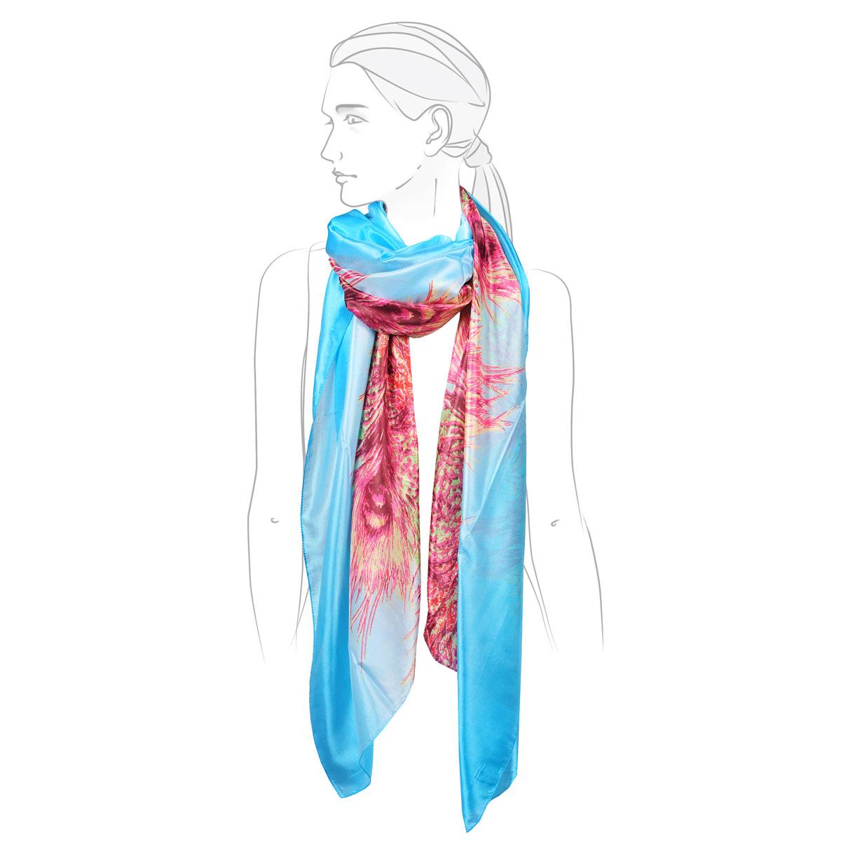 Палантин женский Модные истории, цвет: голубой, красный, зеленый. 21/0476. Размер 95 см х 200 см21/0476Легкий палантин оформлен ярким цветочным принтом. Он выполнен из натурального шелка. Легко и красиво драпируется.Этот модный аксессуар женского гардероба гармонично дополнит образ современной женщины, следящей за своим имиджем и стремящейся всегда оставаться стильной и элегантной.