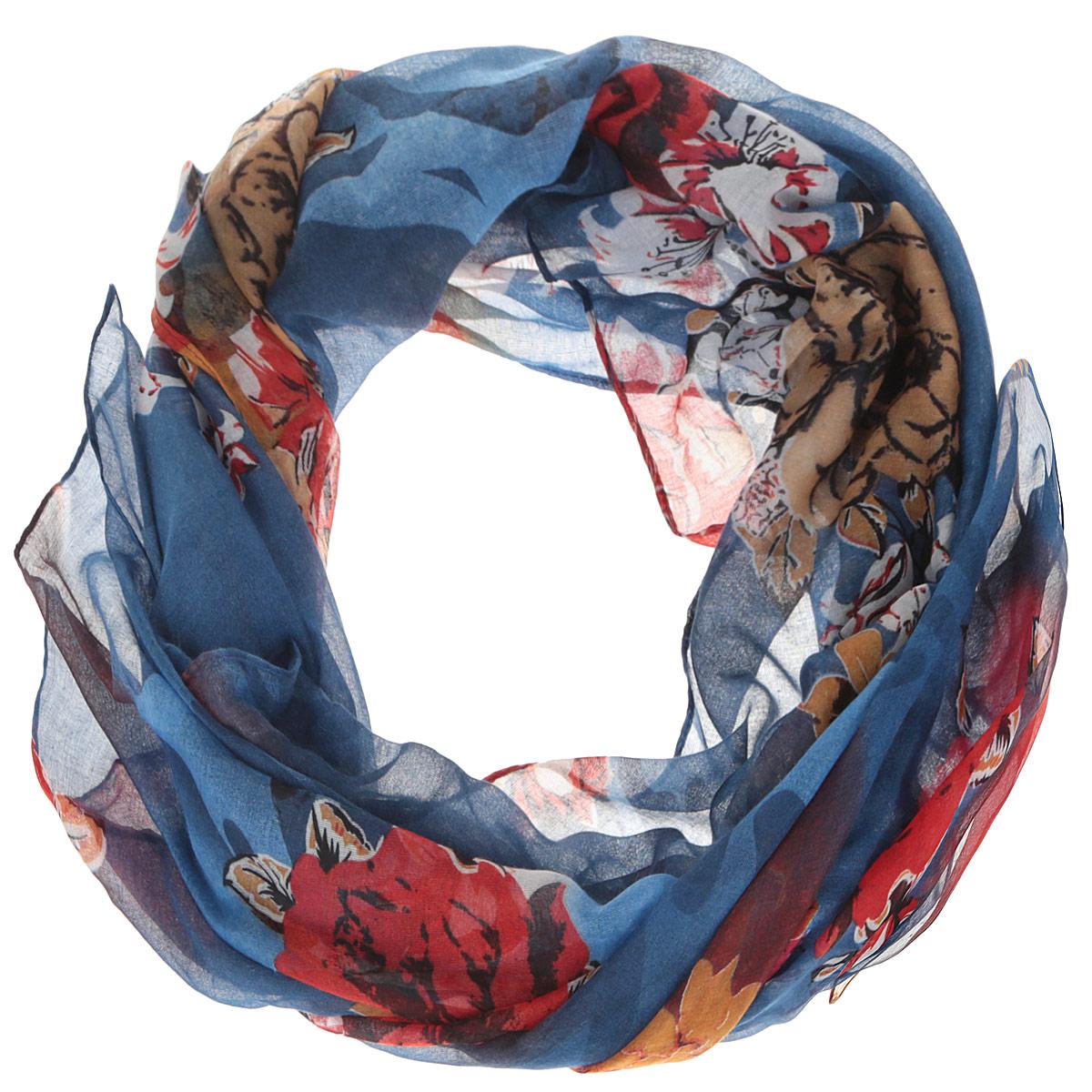 Шарф женский Fabretti, цвет: синий, оранжевый. JH599-1. Размер 180 см х 90 смJH599-1Модный женский шарф Fabretti подарит вам уют и станет стильным аксессуаром, который призван подчеркнуть вашу индивидуальность и женственность. Тонкий шарф выполнен из высококачественной 100% вискозы, он невероятно мягкий и приятный на ощупь. Шарф оформлен принтом с изображением пышных цветов.Этот модный аксессуар гармонично дополнит образ современной женщины, следящей за своим имиджем и стремящейся всегда оставаться стильной и элегантной. Такой шарф украсит любой наряд и согреет вас в непогоду, с ним вы всегда будете выглядеть изысканно и оригинально.