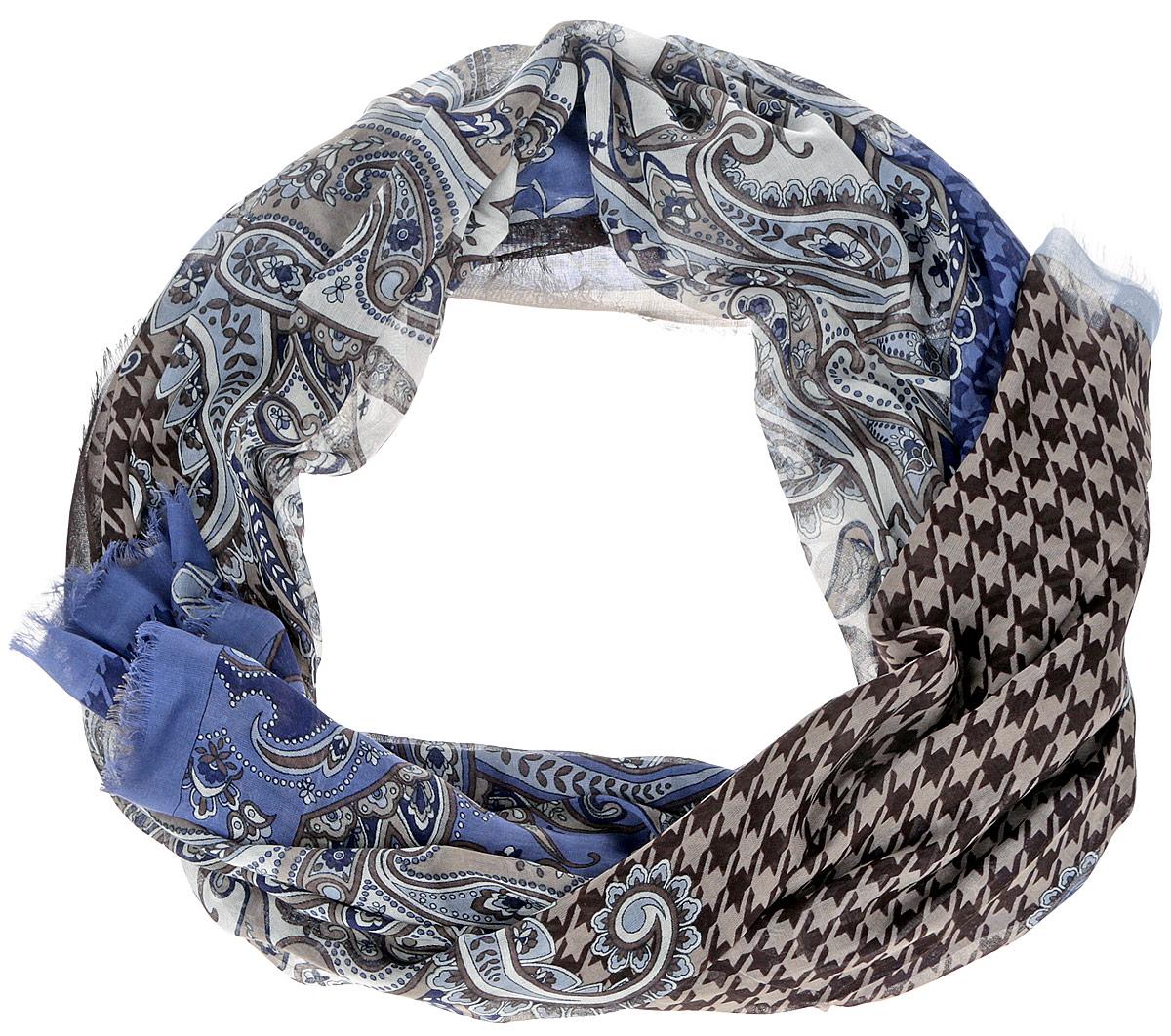 Шарф женский Leo Ventoni, цвет: коричневый, синий. CX1516-55-3. Размер 180 см х 90 смCX1516-55-3Модный женский шарф Leo Ventoni подарит вам уют и станет стильным аксессуаром, который призван подчеркнуть вашу индивидуальность и женственность. Тонкий шарф выполнен из высококачественного 100% модала, он невероятно мягкий и приятный на ощупь. Шарф оформлен тонкой бахромой по краю и украшен принтом в мелкую клетку с изображением изысканных этнических узоров.Этот модный аксессуар гармонично дополнит образ современной женщины, следящей за своим имиджем и стремящейся всегда оставаться стильной и элегантной. Такой шарф украсит любой наряд и согреет вас в непогоду, с ним вы всегда будете выглядеть изысканно и оригинально.