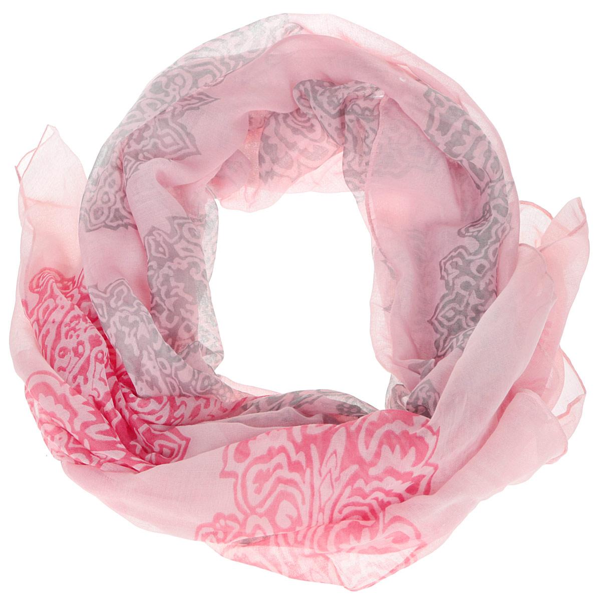 Шарф женский Finn Flare, цвет: розовый, серый. B16-11416. Размер 180 см х 85 смB16-11416Женский шарф Finn Flare станет изысканным аксессуаром, который подчеркнет вашу индивидуальность. Выполненный из вискозы, он очень мягкий и приятный на ощупь. Модель оформлена принтом с узорами.Такой шарф станет стильным дополнением к гардеробу современной женщины, а также подарит ощущение комфорта и уюта.