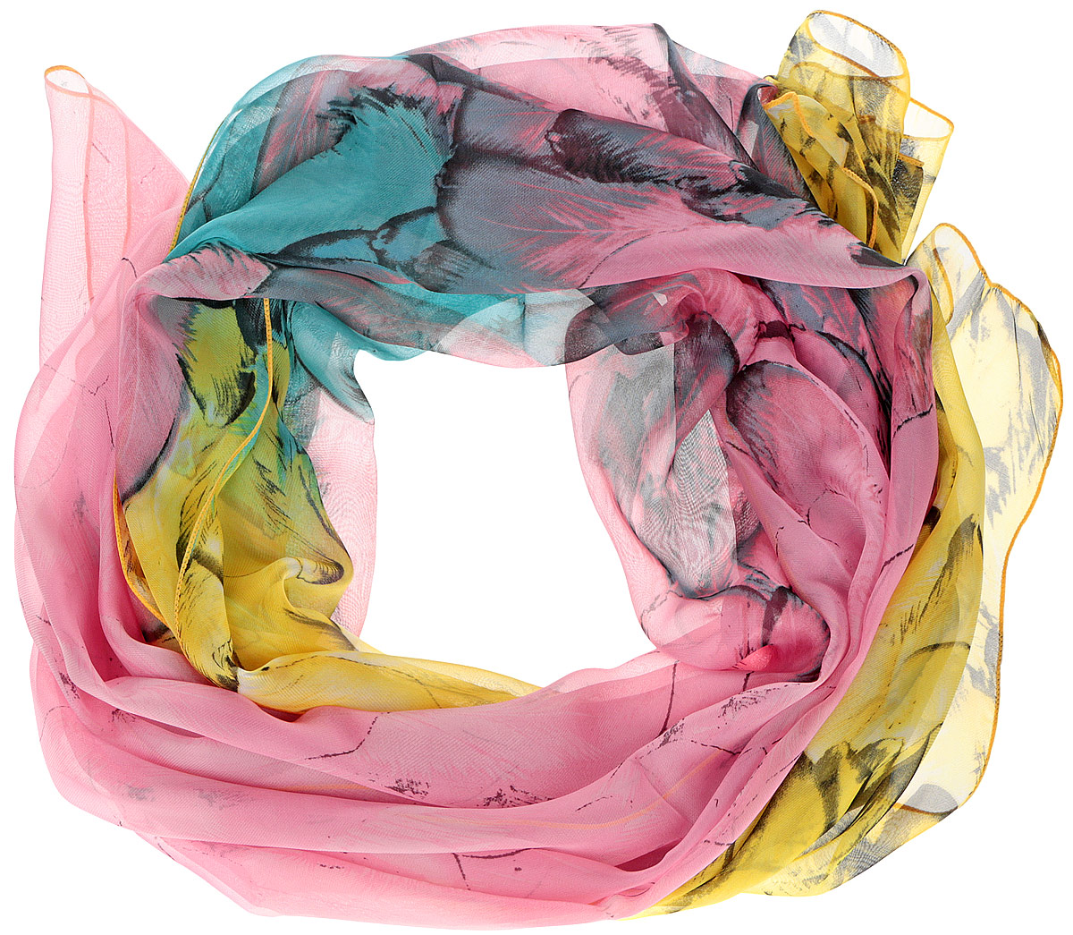 Шарф женский Fabretti, цвет: розовый, желтый, бирюзовый. RL0055-2. Размер 180 см х 95 смRL0055-2Женский шарф Fabretti, выполненный из полиэстера с добавлением шелка, станет ярким дополнением к вашему гардеробу. Изделие легкое и воздушное, имеет приятную текстуру. Модель оформлена принтом с изображением перьев. Этот модный аксессуар гармонично дополнит образ современной женщины, следящей за своим имиджем и стремящейся всегда оставаться стильной и элегантной.