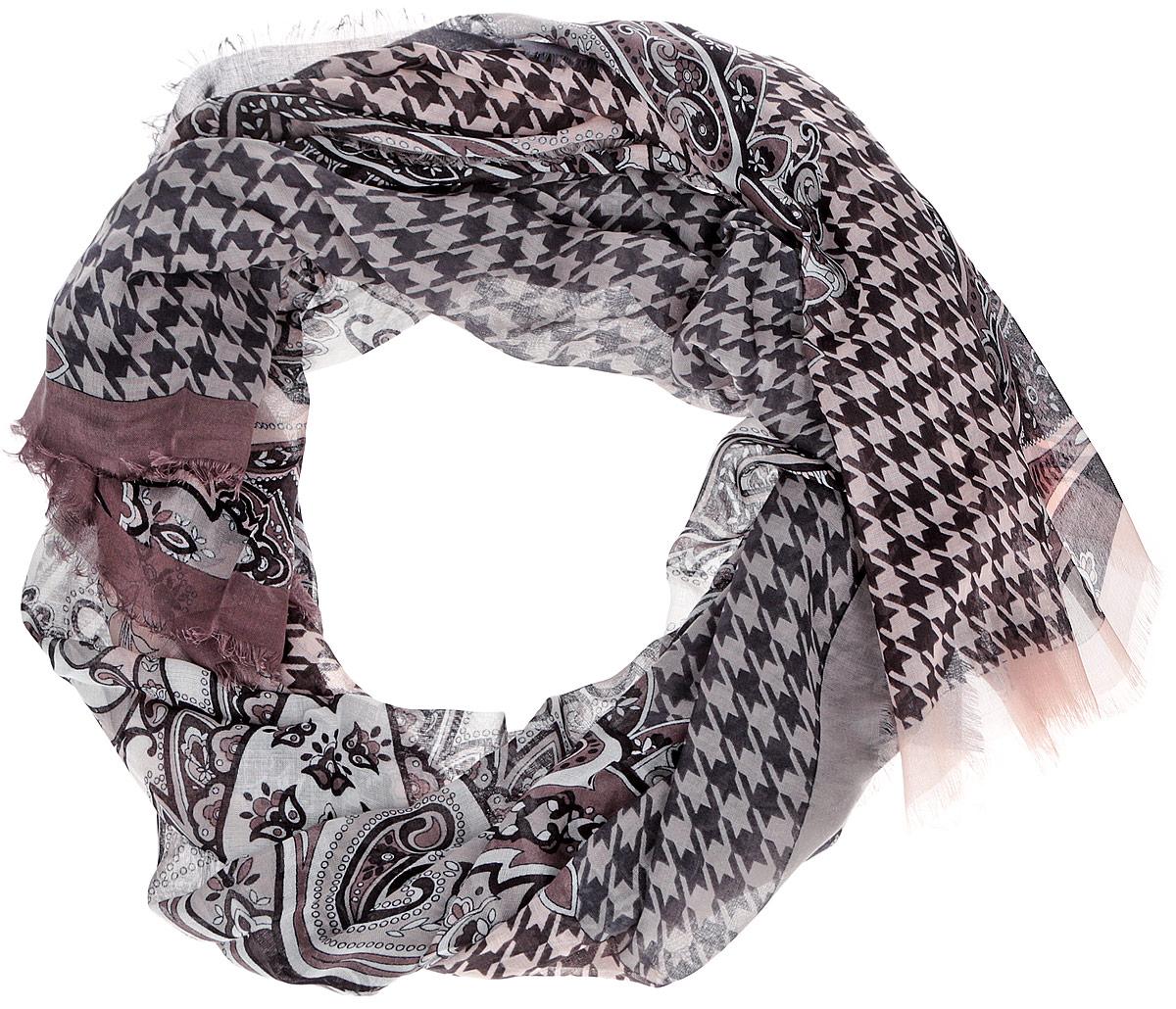 Шарф женский Leo Ventoni, цвет: бежевый, тауп. CX1516-55-6. Размер 180 см х 90 смCX1516-55-6Модный женский шарф Leo Ventoni подарит вам уют и станет стильным аксессуаром, который призван подчеркнуть вашу индивидуальность и женственность. Тонкий шарф выполнен из высококачественного 100% модала, он невероятно мягкий и приятный на ощупь. Шарф оформлен тонкой бахромой по краю и украшен принтом в мелкую клетку с изображением изысканных этнических узоров.Этот модный аксессуар гармонично дополнит образ современной женщины, следящей за своим имиджем и стремящейся всегда оставаться стильной и элегантной. Такой шарф украсит любой наряд и согреет вас в непогоду, с ним вы всегда будете выглядеть изысканно и оригинально.