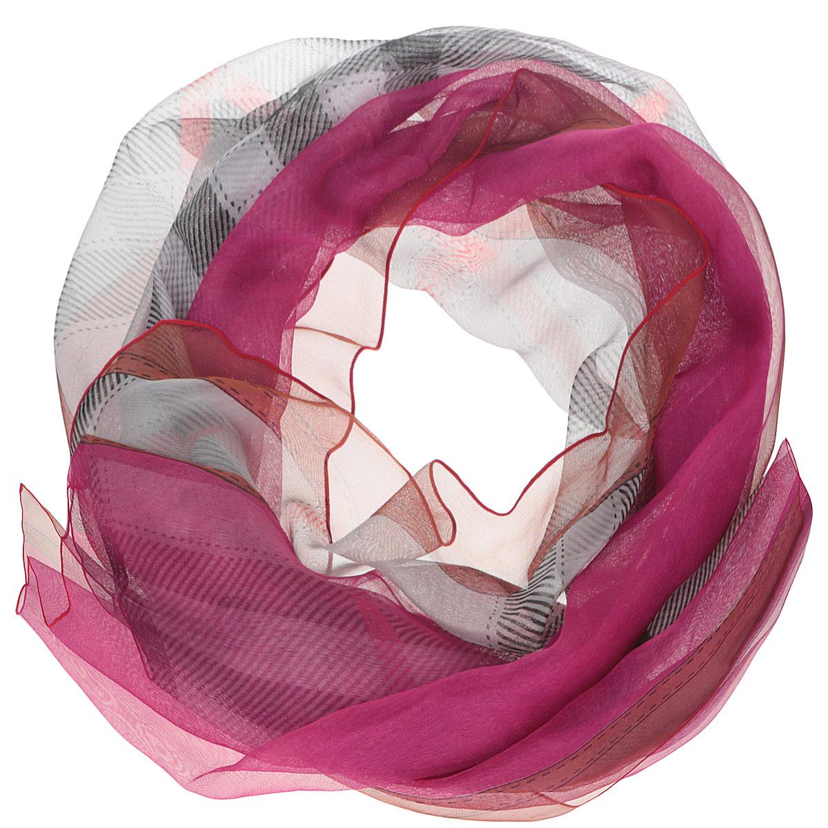 Шарф женский Fabretti, цвет: светло-серый, малиновый, коричневый. RL0068-1. Размер 175 см х 95 смRL0068-1Женский шарф Fabretti позволит вам создать неповторимый и запоминающийся образ. Изготовленный из высококачественных материалов, он очень тонкий и легкий, имеет приятную на ощупь текстуру. Модель оформлена принтом в клетку, а также принтом с узорами. Такой аксессуар станет стильным дополнением к гардеробу современной женщины, стремящейся всегда оставаться яркой и элегантной.