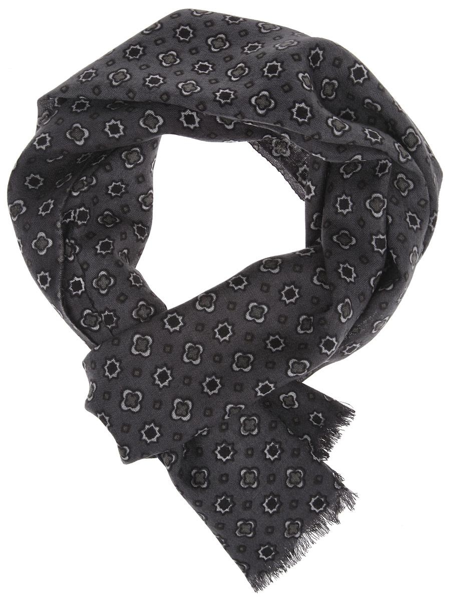 Шарф мужской Leo Ventoni, цвет: темно-серый, черный. YNNT1121-30. Размер 183 см х 45 смYNNT1121-30Мужской шарф Leo Ventoni станет стильным аксессуаром, который призван подчеркнуть вашу индивидуальность. Выполненный из шерсти, он тонкий, очень мягкий, имеет приятную на ощупь текстуру, максимально сохраняет тепло. Изделие оформлено принтом по всей поверхности, по краям украшено бахромой.Такой шарф отлично дополнит любой образ, а также подарит вам ощущение тепла и комфорта.