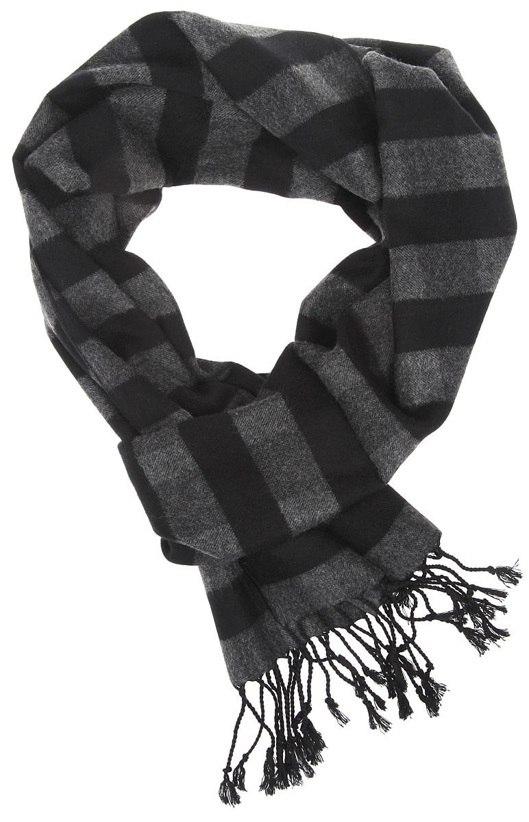 Шарф мужской Fabretti, цвет: серый, черный. RM1507-2. Размер 30 см х 194 смRM1507-2Элегантный мужской шарф Fabretti согреет вас в холодное время года, а также станет изысканным аксессуаром, который призван подчеркнуть ваш стиль и индивидуальность. Оригинальный шарф выполнен из шелка с добавлением вискозы, оформлен узкими полосками и украшен бахромой в виде жгутиков по краям.Такой шарф станет превосходным дополнением к любому наряду, защитит вас от ветра и холода и позволит вам создать свой неповторимый стиль.