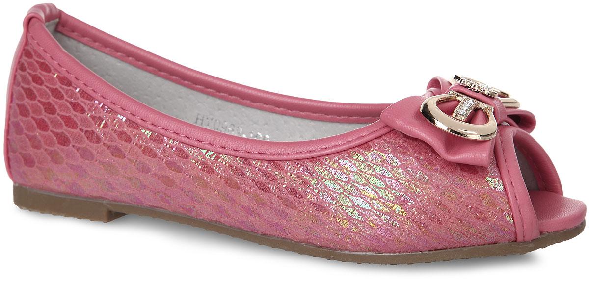 Балетки для девочки Adagio, цвет: розово-коралловый. HY0969-100. Размер 31HY0969-100Стильные и удобные балетки от Adagio придутся по душе вашей девочке! Модель изготовлена из искусственной кожи с покрытием. Мысок изделия дополнен декоративным бантиком с металлическим элементом, украшенным стразами. Модель имеет открытый носок. Внутренняя поверхность и стелька из натуральной кожи комфортны при ходьбе. Рифленая поверхность подошвы обеспечивает отличное сцепление с любыми поверхностями. Удобные балетки - незаменимая вещь в гардеробе каждой девочки.