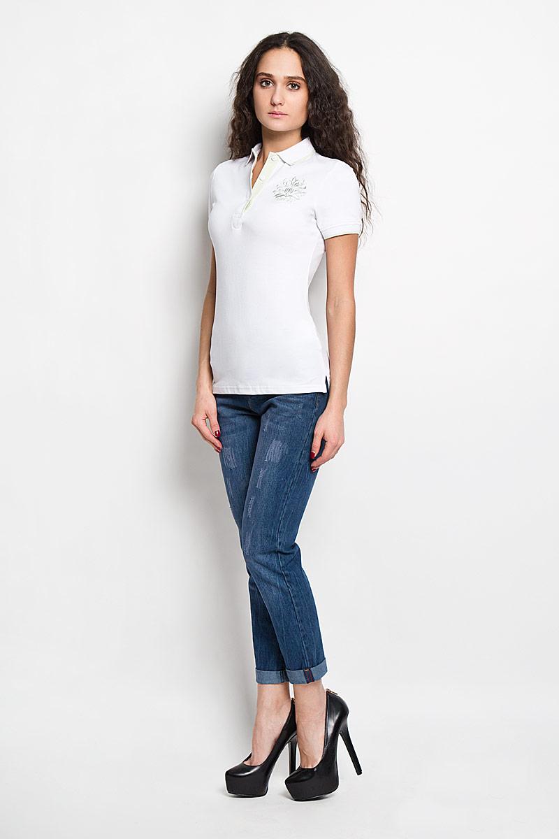 Поло женское Baon, цвет: белый. B206201. Размер M (46)B206201Стильная женская футболка-поло Baon, изготовленная из высококачественного эластичного хлопка, обладает высокой теплопроводностью, воздухопроницаемостью и гигроскопичностью, позволяет коже дышать.Модель с короткими рукавами и отложным воротником - идеальный вариант для создания оригинального современного образа. Сверху футболка-поло застегивается на 3 пуговицы. Футболка-поло оформлена вышивкой с логотипом Baon.Такая модель подарит вам комфорт в течение всего дня и послужит замечательным дополнением к вашему гардеробу.