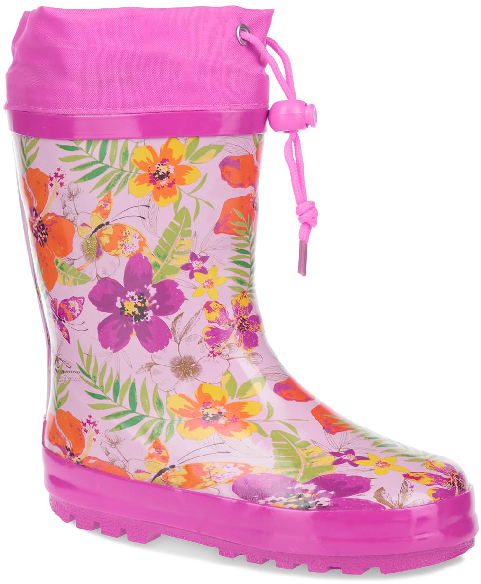 Сапоги резиновые для девочки Flamingo, цвет: розовый. W5534. Размер 33W5534Утепленные резиновые сапожки Flamingo для девочек - идеальная обувь в дождливую погоду. Сапоги выполнены из качественной резины и оформлены по верху красочными цветочными изображениями. Верх голенища дополнен вставкой из текстиля и шнурком с фиксатором, который надежно зафиксирует модель на ноге и отрегулирует объем. Подкладка, изготовленная из шерсти, и стелька из ЭВА материала с верхним покрытием из шерсти защитят ножки ребенка от холода и обеспечат уют. Задник декорирован логотипом бренда. Подошва из резины оснащена рифлением для лучшей сцепки с поверхностью.Яркие резиновые сапоги поднимут вам и вашему ребенку настроение в дождливую погоду!