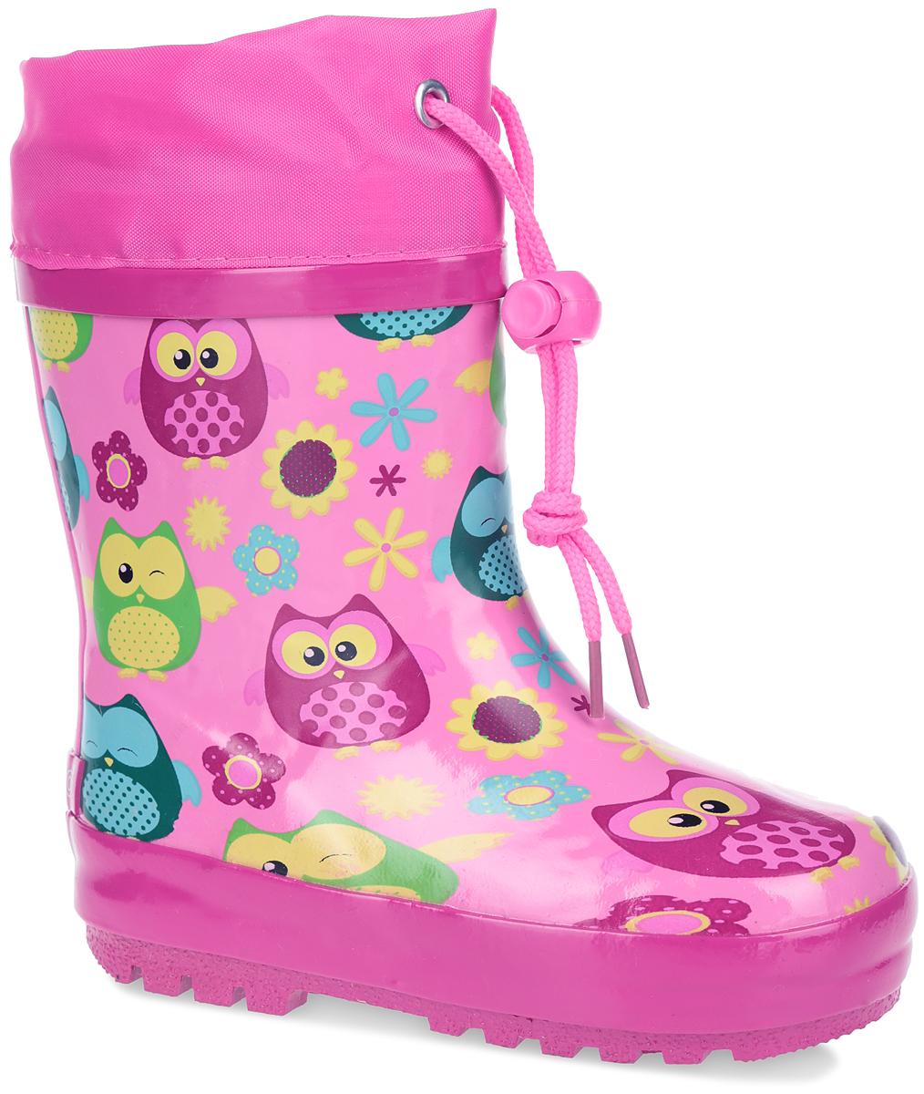 Сапоги резиновые для девочки Flamingo, цвет: розовый. W5525. Размер 27W5525Утепленные резиновые сапожки Flamingo для девочек - идеальная обувь в дождливую погоду. Сапоги выполнены из качественной резины и оформлены по верху красочными изображениями. Верх голенища дополнен вставкой из текстиля и шнурком с фиксатором, который надежно зафиксирует модель на ноге и отрегулирует объем. Подкладка, изготовленная из шерсти, и стелька из ЭВА материала с верхним покрытием из шерсти защитят ножки ребенка от холода и обеспечат уют. Задник декорирован логотипом бренда. Подошва из резины оснащена рифлением для лучшей сцепки с поверхностью.Яркие резиновые сапоги поднимут вам и вашему ребенку настроение в дождливую погоду!