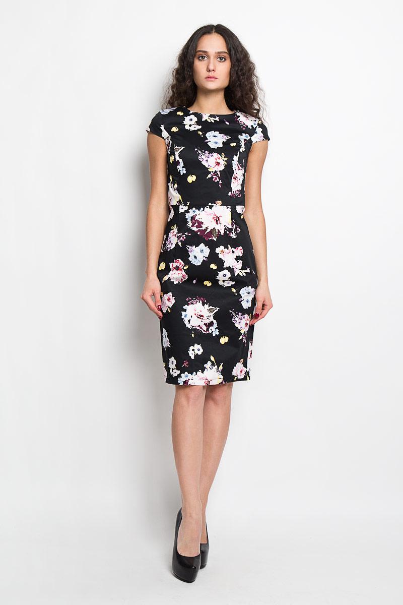 Платье Baon, цвет: черный, розовый, голубой. B456061. Размер S (44)B456061Элегантное платье Baon выполнено из высококачественного эластичного хлопка. Такое платье обеспечит вам комфорт и удобство при носке.Модель с короткими рукавами-крылышками и круглым вырезом горловины выгодно подчеркнет все достоинства вашей фигуры. Платье застегивается на застежку-молнию сзади. Изделие оформлено красочным цветочным принтом и дополнено декоративными складками на юбке сзади. Изысканное платье-миди создаст обворожительный и неповторимый образ.Это модное и удобное платье станет превосходным дополнением к вашему гардеробу, оно подарит вам удобство и поможет вам подчеркнуть свой вкус и неповторимый стиль.