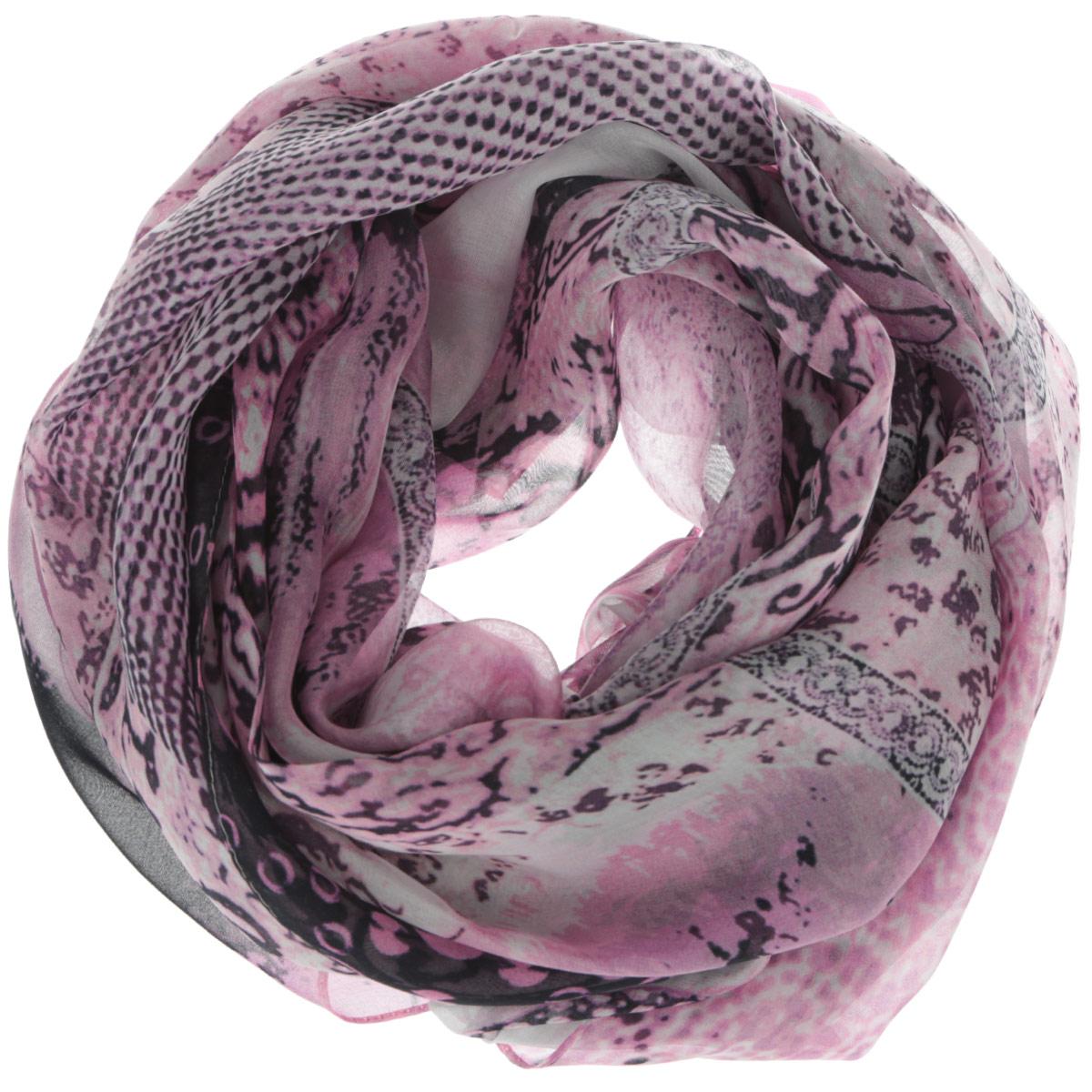 Шарф женский Leo Ventoni, цвет: розовый, черный, белый. 201509222. Размер 180 см х 66 см201509222Женский шарф Leo Ventoni позволит вам создать неповторимый и запоминающийся образ. Изготовленный из высококачественного шелка, он очень легкий, мягкий, имеет приятную на ощупь текстуру. Модель оформлена ярким принтом.Такой аксессуар станет модным дополнением к гардеробу современной женщины, стремящейся всегда оставаться стильной и элегантной.