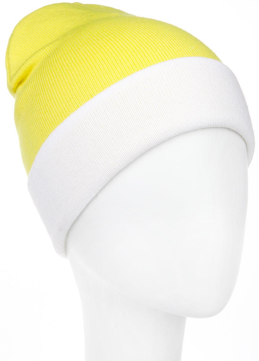Шапка женская Elfrio, цвет: неоновый желтый, белый. RLH5723. Размер 56/58RLH5723_048/003Удлиненная женская шапка Elfrio отлично дополнит ваш образ в холодную погоду. Сочетание акрила и эластана максимально сохраняет тепло и обеспечивает удобную посадку, невероятную легкость и мягкость. Двухстороннюю двухцветную шапку можно носить как с отворотом, так и без. Стильнаяшапка Elfrio подчеркнет ваш неповторимый стиль и индивидуальность. Такая модель будет актуальна как на спортивных мероприятиях, так и в повседневной жизни. Уважаемые клиенты!Размер, доступный для заказа, является обхватом головы.