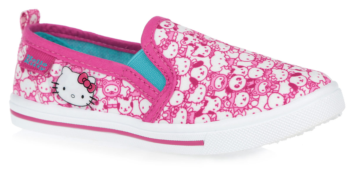 Кеды для девочки Kakadu Hello Kitty, цвет: розовый, белый. 6075A. Размер 326075AЯркие кеды Hello Kitty от Kakadu придутся по душе вашей девочке! Модель выполнена из текстиля, экологически безопасного материала, и оформлена изображением героев мультфильма Hello Kitty, сбоку - аппликацией. Резинки, расположенные по бокам, гарантируют оптимальную посадку модели на ноге. Подкладка выполнена из гипоаллергенного натурального хлопка, который хорошо впитывает влагу и позволяет коже дышать. Амортизирующая стелька из хлопка с антибактериальным покрытием препятствует появлению бактерий, нейтрализует запах, прекрасно впитывает лишнюю влагу и обладает высокой воздухопроницаемостью. Рифление на подошве обеспечивает отличное сцепление с любыми поверхностями. Удобные кеды - незаменимая вещь в гардеробе каждой девочки.