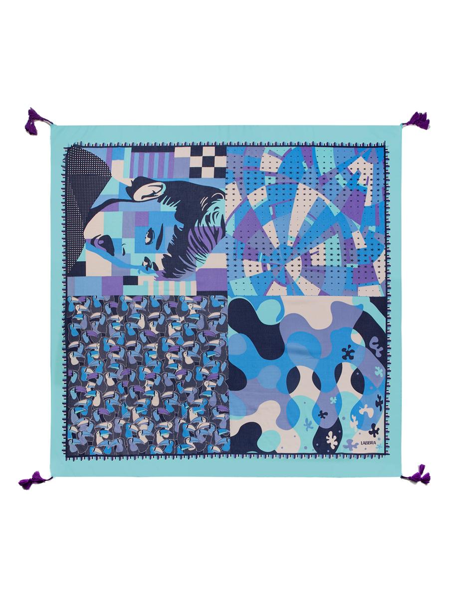 Платок женский Labbra, цвет: синий, фиолетовый, мятный. LBL22-274. Размер 110 см х 110 смLBL22-274Стильный женский платок Labbra станет великолепным завершением любого наряда. Платок изготовлен из шелка и хлопка, оформлен оригинальным орнаментом и по кроям дополнен кисточками.Такой платок превосходно дополнит любой наряд и подчеркнет ваш неповторимый вкус и элегантность.