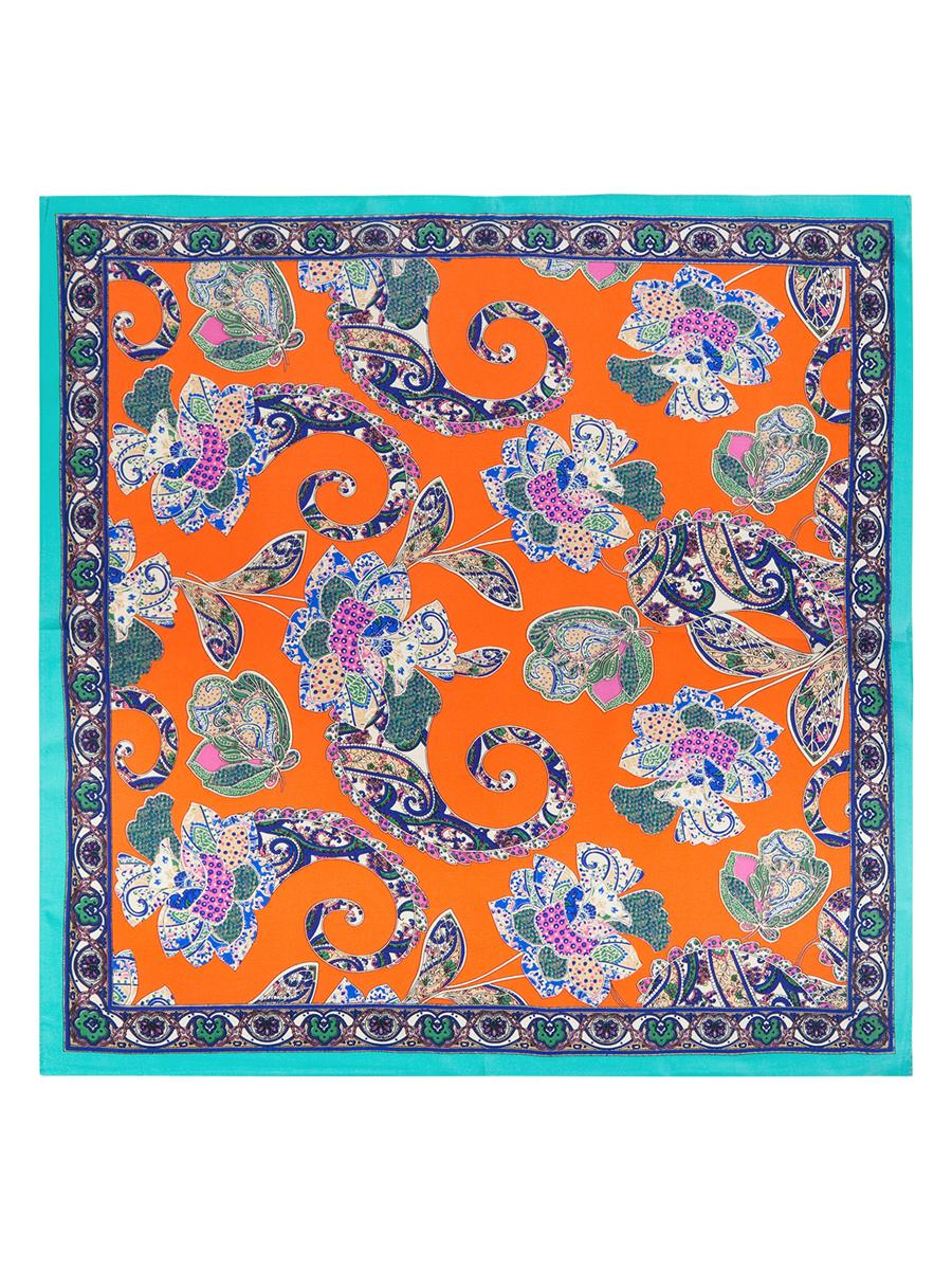 Платок женский Eleganzza, цвет: оранжевый, синий, бирюзовый. SS03-7765. Размер 53 см х 53 смSS03-7765Стильный женский платок Eleganzza станет великолепным завершением любого наряда. Платок изготовлен из высококачественного шелка и оформлен оригинальным орнаментом с цветочными элементами. Классическая квадратная форма позволяет носить платок на шее, украшать им прическу или декорировать сумочку. Такой платок превосходно дополнит любой наряд и подчеркнет ваш неповторимый вкус и элегантность.