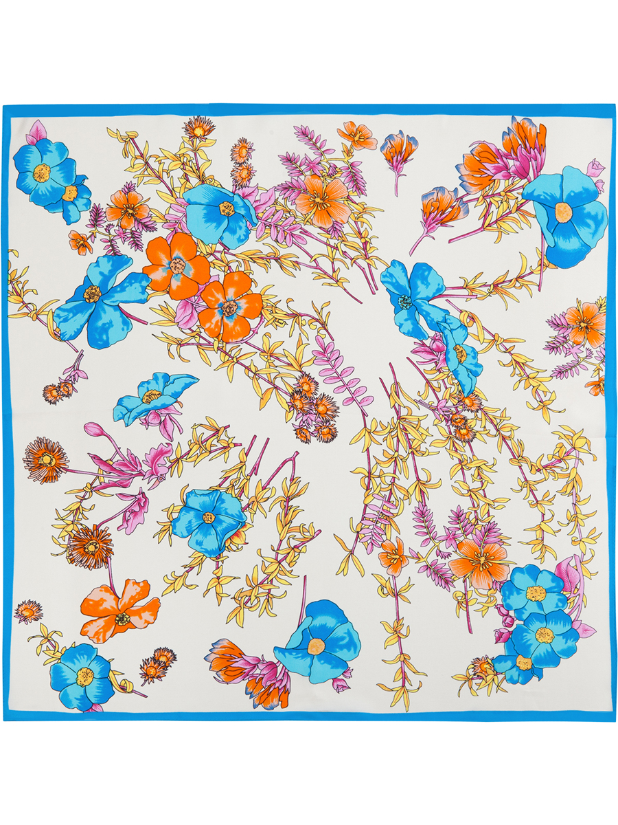 Платок женский Eleganzza, цвет: синий, молочный, розовый. SS03-7785. Размер 55 см х 55 смSS03-7785Стильный женский платок Eleganzza станет великолепным завершением любого наряда. Платок изготовлен из высококачественного шелка и оформлен оригинальным цветочным принтом. Классическая квадратная форма позволяет носить платок на шее, украшать им прическу или декорировать сумочку. Такой платок превосходно дополнит любой наряд и подчеркнет ваш неповторимый вкус и элегантность.