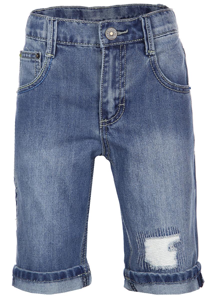 Бриджи для мальчика Scool, цвет: синий. 163005. Размер 146, 11 лет163005Стильные джинсовые бриджи для мальчика Scool прекрасно подойдут вашему ребенку и станут отличным дополнением к детскому гардеробу. Изготовленные из хлопка с добавлением полиэстера, они мягкие и приятные на ощупь, не сковывают движения и позволяют коже дышать.Бриджи на поясе застегиваются на металлическую пуговицу и имеют шлевки для ремня и ширинку на застежке-молнии. При необходимости пояс можно утянуть скрытой резинкой на пуговицах. Спереди модель дополнена двумя втачными карманами и одним накладным кармашком, а сзади - одним накладным карманом. Оформлена модель контрастной отстрочкой, эффектом потертости и декоративными заплатками. Штанины снизу имеют неширокие декоративные отвороты. В таких бриджах ваш ребенок будет чувствовать себя комфортно, уютно и всегда будет в центре внимания!