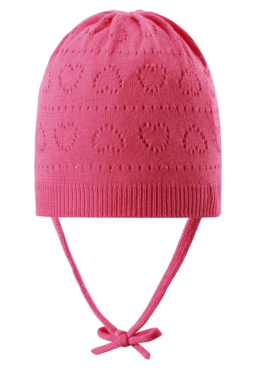 Шапка-бини для девочки Reima Mellow, цвет: коралловый. 518345-3420. Размер 46518345_3420Классическая шапка для девочки Reima Mellow идеально подойдет для прогулок маленькой принцессе. Изделие изготовлено из натуральной хлопковой пряжи, необычайно мягкое и приятное на ощупь, позволяет коже дышать. Благодаря эластичной вязке, шапка идеально прилегает к голове ребенка. Шапочка дополнена завязками, фиксирующимися под подбородком. Край изделия связан широкой резинкой. Модель оформлена вязаным ажурным узором с изображением сердечек. Сзади предусмотрена небольшая нашивка с логотипом бренда. Современный дизайн и расцветка делают эту шапку модным и стильным предметом детского гардероба. В ней ребенку будет уютно и комфортно. Уважаемые клиенты!Размер, доступный для заказа, является обхватом головы.