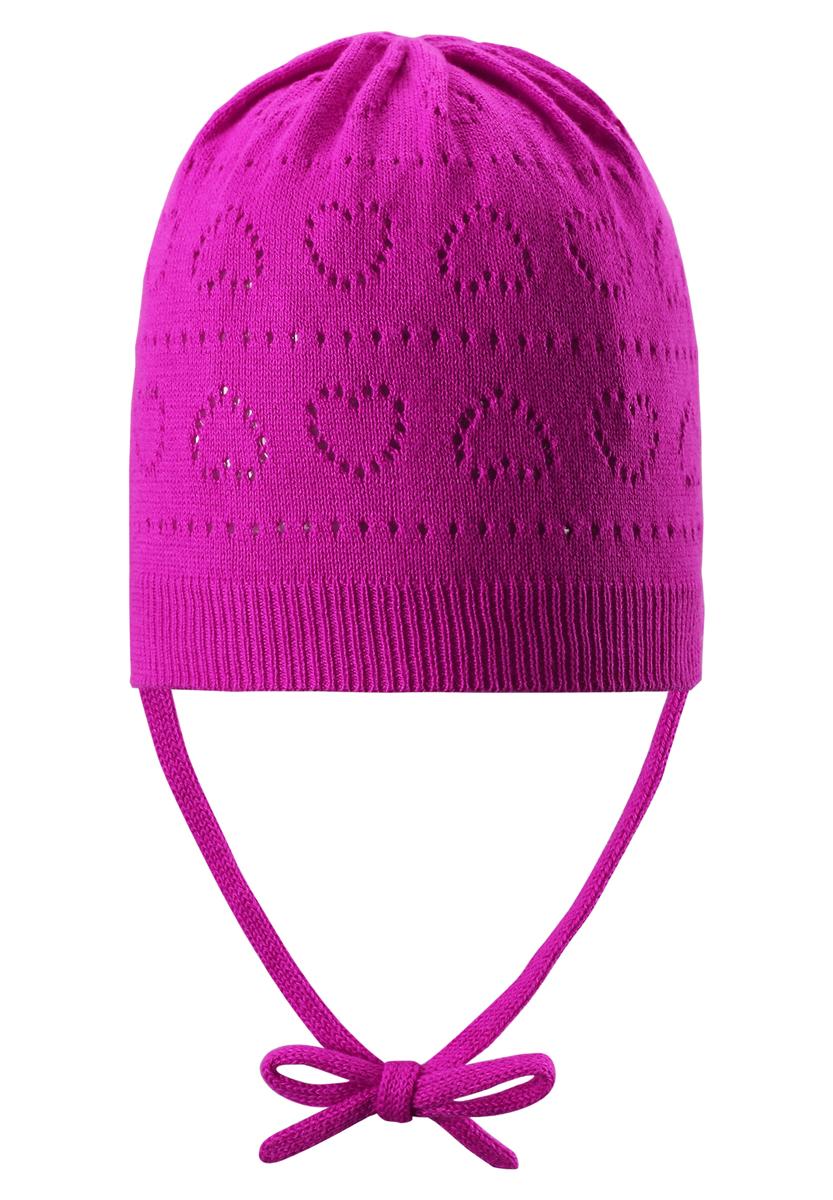 Шапка-бини для девочки Reima Mellow, цвет: фуксия. 518345-4720. Размер 46518345_4720Классическая шапка для девочки Reima Mellow идеально подойдет для прогулок маленькой принцессе. Изделие изготовлено из натуральной хлопковой пряжи, необычайно мягкое и приятное на ощупь, позволяет коже дышать. Благодаря эластичной вязке, шапка идеально прилегает к голове ребенка. Шапочка дополнена завязками, фиксирующимися под подбородком. Край изделия связан широкой резинкой. Модель оформлена вязаным ажурным узором с изображением сердечек. Сзади предусмотрена небольшая нашивка с логотипом бренда. Современный дизайн и расцветка делают эту шапку модным и стильным предметом детского гардероба. В ней ребенку будет уютно и комфортно. Уважаемые клиенты!Размер, доступный для заказа, является обхватом головы.
