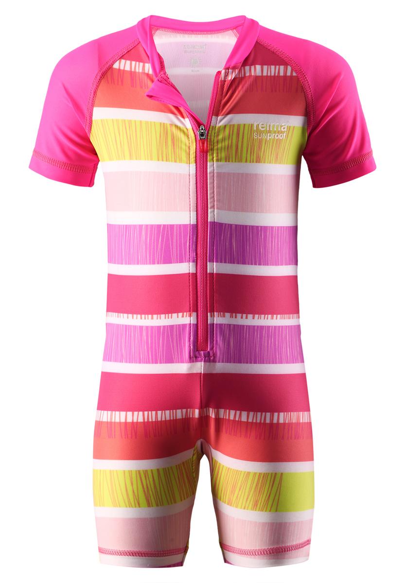 Купальный костюм детский Reima SunProof Odessa, цвет: розовый, белый, желтый. 584017-3427. Размер 62584017_3427Детский купальный костюм Reima SunProof Odessa предназначен для игр на солнце и в воде. Костюм изготовлен из высококачественного быстросохнущего материала SunProof с УФ-фактором защиты 50+, который обеспечивает великолепную защиту нежной коже. Модель с круглым вырезом горловины и короткими рукавами-реглан застегивается спереди на пластиковую молнию, что помогает при переодевании ребенка. Изделие дополнено гигиеничной ластовицей. Костюм оформлен ярким принтом в полоску.Купальный костюм станет отличным дополнением к детскому гардеробу, он обеспечит защиту как в воде, так и на песке.