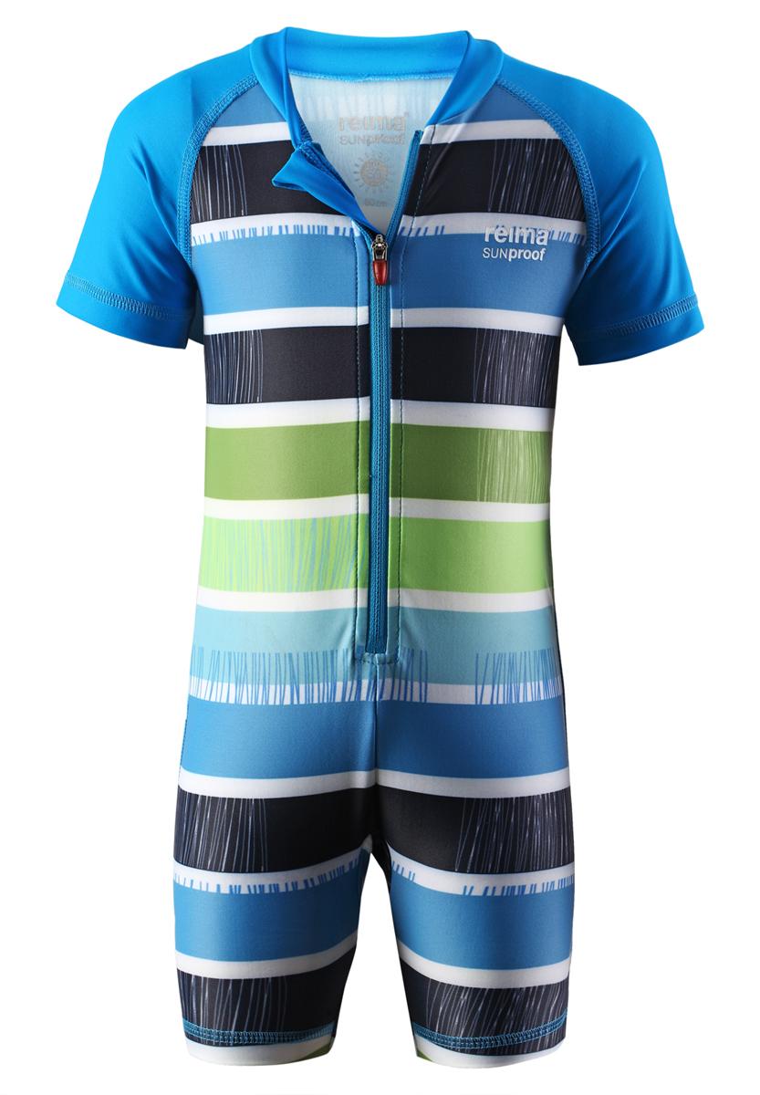 Купальный костюм детский Reima SunProof Odessa, цвет: голубой, зеленый, белый. 584017-7475. Размер 62584017_7475Детский купальный костюм Reima SunProof Odessa предназначен для игр на солнце и в воде. Костюм изготовлен из высококачественного быстросохнущего материала SunProof с УФ-фактором защиты 50+, который обеспечивает великолепную защиту нежной коже. Модель с круглым вырезом горловины и короткими рукавами-реглан застегивается спереди на пластиковую молнию, что помогает при переодевании ребенка. Изделие дополнено гигиеничной ластовицей. Костюм оформлен ярким принтом в полоску.Купальный костюм станет отличным дополнением к детскому гардеробу, он обеспечит защиту как в воде, так и на песке.