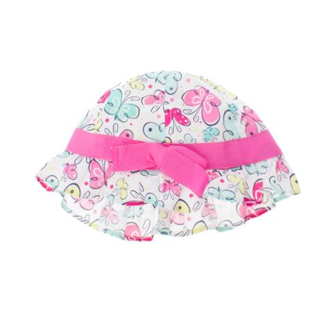 Панама для девочки PlayToday Baby, цвет: белый, розовый, желтый, ментоловый. 168073. Размер 48168073Стильная панама PlayToday Baby для девочки, изготовленная из натурального хлопка, идеально подойдет вашей маленькой моднице. Небольшие поля надежно защитят голову ребенка от перегревания, а глаза от попадания прямого солнечного света. Модель оформлена ярким принтом с изображением бабочек и дополнена контрастной трикотажной лентой с бантом. В этой модной панаме ваша малышка всегда будет в центре внимания!