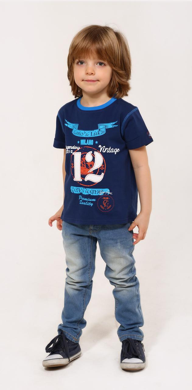 Джинсы для мальчика Gino de Luka, цвет: темно-синий джинс. SS16-CRN-BJN-063. Размер 98/104SS16-CRN-BJN-063Стильные джинсы для мальчика Gino de Luka идеально подойдут юному моднику. Изготовленные из эластичного хлопка, они мягкие и приятные на ощупь, не сковывают движения и позволяют коже дышать, обеспечивая наибольший комфорт. Джинсы прямого кроя на талии застегиваются на металлическую пуговицу и имеют ширинку на застежке-молнии, а также шлевки для ремня. При необходимости пояс можно утянуть скрытой резинкой на пуговках. Спереди расположены два втачных кармана и один маленький накладной, сзади - два накладных кармана. Изделие оформлено контрастной прострочкой и эффектом потертости. Современный дизайн и расцветка делают эти джинсы модным и удобным предметом детского гардероба. В них ребенок всегда будет в центре внимания!