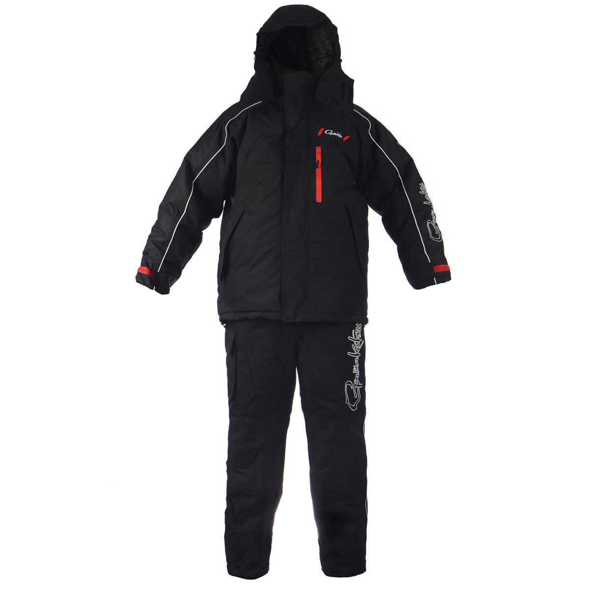 Комплект мужской Gamakatsu: куртка, полукомбинезон, цвет: черный. 0041119. Размер XXL (54/56)0041117Теплый мужской комплект Gamakatsu, состоящий из куртки с подстежкой Ultralight и полукомбинезона,предназначен для сурового климата с экстремально низкими температурами (от -5°С до -50°С). Верхний материал выполнен из 100% нейлона, подкладка и утеплитель из 100%полиэстера. Куртка с капюшоном застегивается на пластиковую застежку-молнию с двойнымбегунком и дополнительно имеет две внешних планки, застегивающихся на липучки.Предусмотрен капюшон, пристегивающийся с помощью застежек-кнопок и дополненныйэластичным шнурком на стопперах. Капюшон фиксируется под подбородком клапаном налипучки. Для большего комфорта основная подкладка выполнена из мягкого и теплогофлиса. Рукава дополнены внутренними эластичными манжетами с хлястиками на липучках,а также внешними хлястиками на липучках, с помощью которых можно регулироватьобхват рукавов понизу. На груди предусмотрен вместительный прорезной карман назастежке-молнии, также спереди имеются еще два прорезных кармана на молниях. Сизнаночной стороны куртки расположен накладной карман на застежке-молнии. Понизупроходит скрытая эластичная резинка со стопперами. В комплект входит подстежка Ultralight,выполненная в виде утепленной куртки из нейлона, на подкладке из полиэстера. В качествеутеплителя также используется полиэстер. Подстежку можно носит в прохладную погоду,как куртку. Подстежка пристегивается к изнаночной стороне куртки с помощьюпластиковых застежек-молний. Теплый полукомбинезон с грудкой застегивается на пластиковую застежку-молнию,закрытую сверху ветрозащитной планкой на липучках и застежке-кнопке. Также имеютсянаплечные лямки, регулируемые по длине. На талии по спинке предусмотрена вшитаяэластичная резинка, которая позволяет надежно заправить свитер. Спередипредусмотрены три прорезных кармана на застежках-молниях. Также сбоку имеетсявместительный накладной карман на длинной липучке. Низ брючин можно регулироватьпо ширине с п