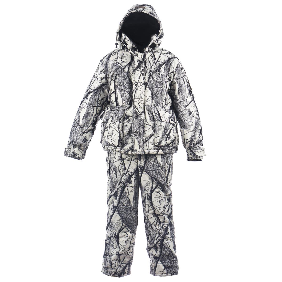 Комплект мужской Huntsman Буран-М: куртка, полукомбинезон, цвет: белый лес. Размер 56/58