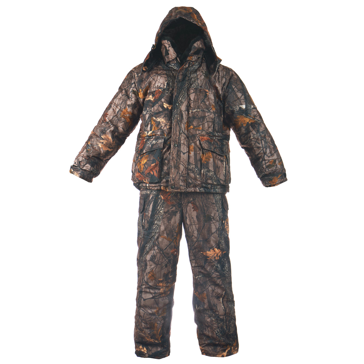 Комплект мужской Huntsman Буран-М: куртка, полукомбинезон, цвет: лес. Размер 52/54Буран-М_смесоваяТеплый зимний мужской комплект Huntsman Буран-М, состоящий из куртки и полукомбинезона, предназначен длярыбалки, охоты и активного отдыха на природе. Верхний материал не продувается ветром, не промокает подсильным дождем, не теряет своих свойств при низких температурах (до -30°С) и не шуршит. Верхний материал:смесовая ткань (65% полиэстер, 35% хлопок), Oxford, Alova. Подкладка - Taffeta 190T, Polar Fleece, искусственный мутон. Ткань Alova смембранным покрытием препятствует проникновению ветра, отталкивает жидкость от поверхности, замедляетпотери тепла, пропускает испарения тела.В качестве утеплителя используется Radotex (Радотекс) (куртка - 450 г/м2, полукомбинезон - 300 г/м2), состоящийиз полого высокоизвитого силикононизированного волокна. Уникальная структура утеплителя обеспечиваетвысокие потребительские качества:Низкий коэффициент теплоотдачи;Прекрасно поддерживает микроклимат человека, хорошо пропускает воздух;Экологически чистый, не аллергичен, не впитывает запахи.Куртка с капюшоном застегивается на пластиковую застежку-молнию с двойным бегунком и дополнительноимеет внешний и внутренний ветрозащитные планки. Верхняя планка застегивается на кнопки. Предусмотренкапюшон, пристегивающийся с помощью застежек-кнопок и дополненный эластичным шнурком на стопперах.Капюшон фиксируется под подбородком клапаном на липучку. Также имеется съемный воротник с подкладкой изискусственного меха - мутон. Воротник пристегивается с помощью пластиковых пуговиц. Для большего комфортаосновная подкладка выполнена из мягкого и теплого флиса. Рукава дополнены внутренними эластичнымиманжетами, а также хлястиками на липучках, с помощью которых можно регулировать обхват рукавов понизу. На груди предусмотрены два больших прорезных кармана на застежках-молниях, также спереди имеются двавместительных накладных кармана с клапанами на кнопках, которые в свою очередь дополнены прорезнымикармашками н