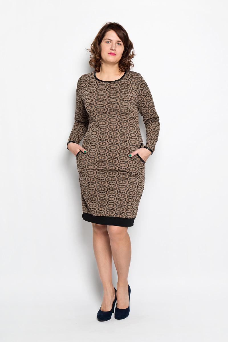 Платье Milana Style, цвет: коричневый, черный. 1581-634. Размер 461581-634Платье Milana Style подчеркнет все достоинства женской фигуры в наиболее выгодном свете. Благодаря составу, в который входит мягкая эластичная вискоза и ПАН, платье приятное на ощупь, не сковывает движений, обеспечивая комфорт.Модель с круглым вырезом горловины и длинными рукавами украшена цветочным узором. Спереди предусмотрены два втачных кармана. На спинке имеется вставка, декорированная пуговицами. Вырез горловины, края рукавов и карманы оформлены бейкой контрастного цвета. Такое платье станет модным и стильным дополнением к вашему гардеробу!