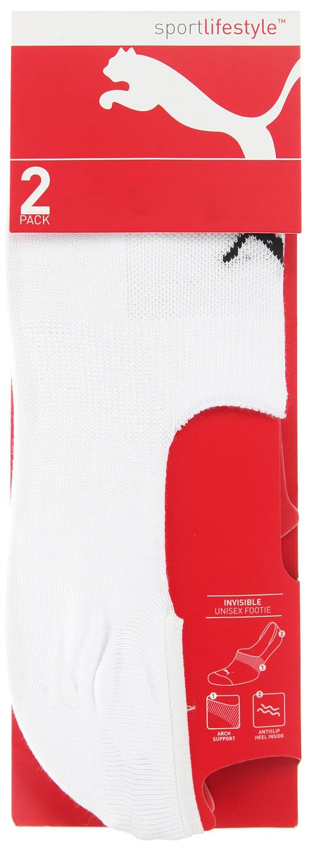 Носки Puma Invisible Footie 2P, цвет: белый, 2 пары 90624502. Размер 35/3890624502Укороченные носки Puma Invisible Footie 2P, изготовленные из высококачественного хлопкового трикотажа, подходят как для занятий спортом, так и для повседневного ношения. Оформлены носки оригинальным логотипом Puma.Идеальное сочетание практичности, легкости и комфорта.В комплект входят две пары носков.