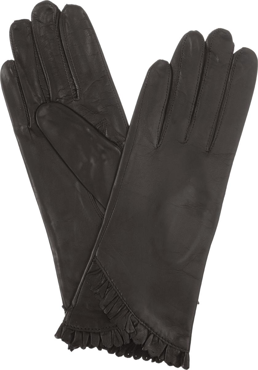 Перчатки женские Eleganzza, цвет: темно-коричневый. IS803. Размер 6,5IS803Стильные женские перчатки Eleganzza не только защитят ваши руки от холода, но и станут великолепным украшением. Они выполнены из мягкой и приятной на ощупь кожи, а их подкладка - из натурального шелка. Декорирована модель кожаной оборкой с перфорацией.Такие перчатки станут идеальным аксессуаром, дополняющим ваш стиль и неповторимость.