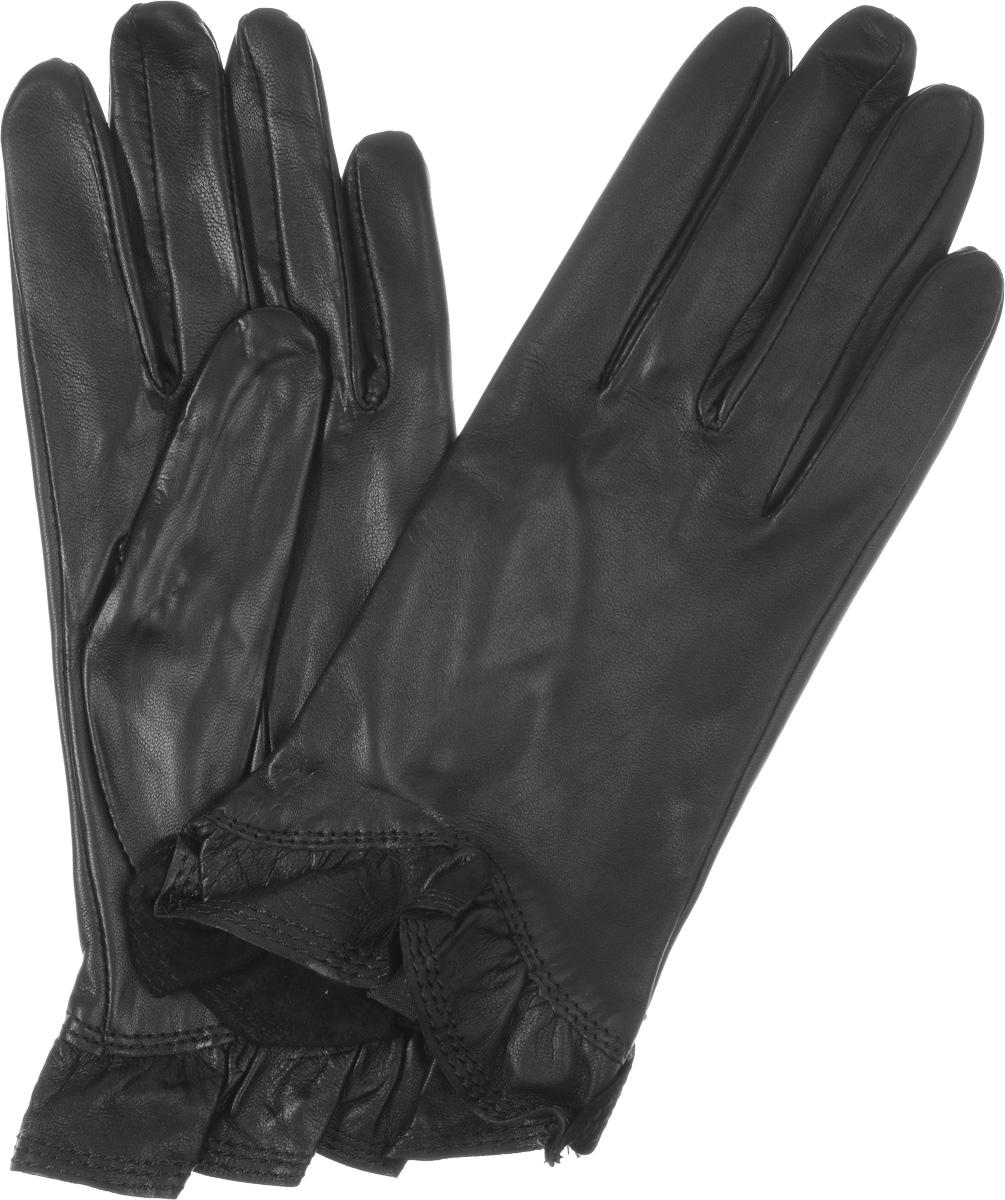 Перчатки женские Eleganzza, цвет: черный. IS01818. Размер 7IS01818Стильные женские перчатки Eleganzza выполнены из чрезвычайно мягкой и приятной на ощупь натуральной кожи ягненка, а их подкладка - из 100% шелка. Модель декорирована кожаной оборкой по краю манжеты. В настоящее время перчатки являются неотъемлемой принадлежностью одежды, вместе с этим аксессуаром вы обретаете женственность и элегантность. Они станут завершающим и подчеркивающим элементом вашего стиля и неповторимости.