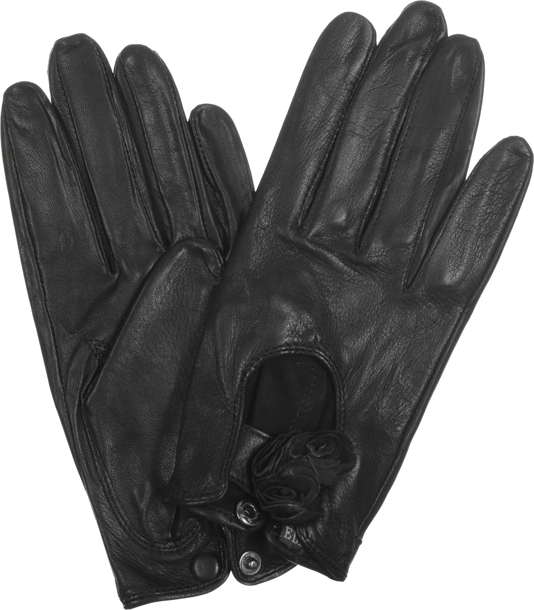 Перчатки женские Eleganzza, цвет: черный. HP02020. Размер 7HP02020Стильные женские перчатки Eleganzza выполнены из кожи ягненка с напылением, придающим мерцающий блеск. На лицевой стороне - вырез и декоративный ремешок с цветами из кожи. На внутренней стороне манжеты - разрез с металлической кнопкой, обтянутой кожей.Перчатки станут идеальным аксессуаром, дополняющим ваш стиль и неповторимость в современном мире моды.