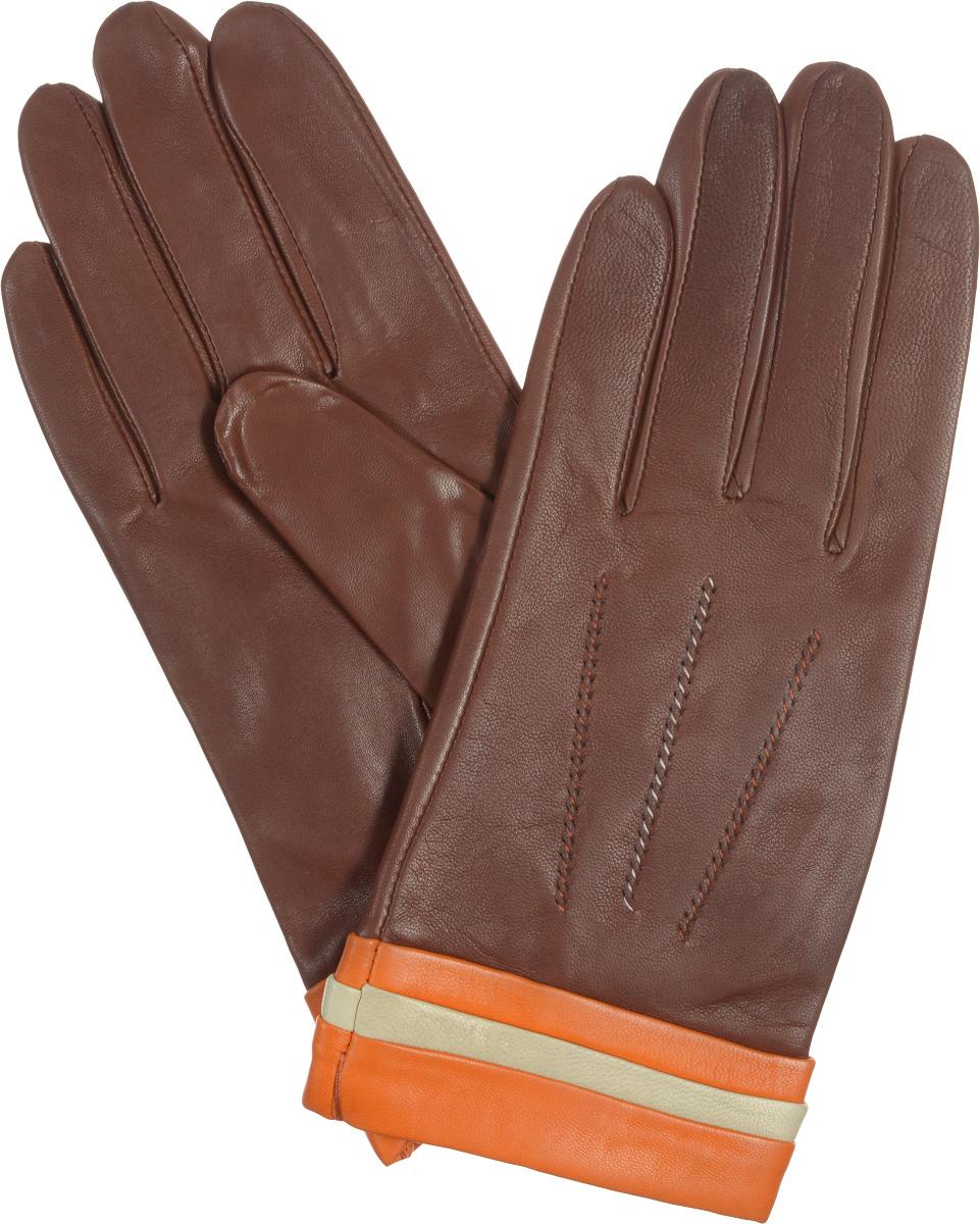 Перчатки женские Eleganzza, цвет: рыже-коричневый. IS402. Размер 7IS402Стильные женские перчатки Eleganzza не только защитят ваши руки от холода, но и станут великолепным украшением. Они выполнены из мягкой и приятной на ощупь кожи, а их подкладка - из натурального шелка. Манжеты декорированы контрастными оборками, на лицевой стороне модели - декоративный шов 3 луча. На ладонной стороне изделия имеется разрез. Такие перчатки станут идеальным аксессуаром, дополняющим ваш стиль и неповторимость.