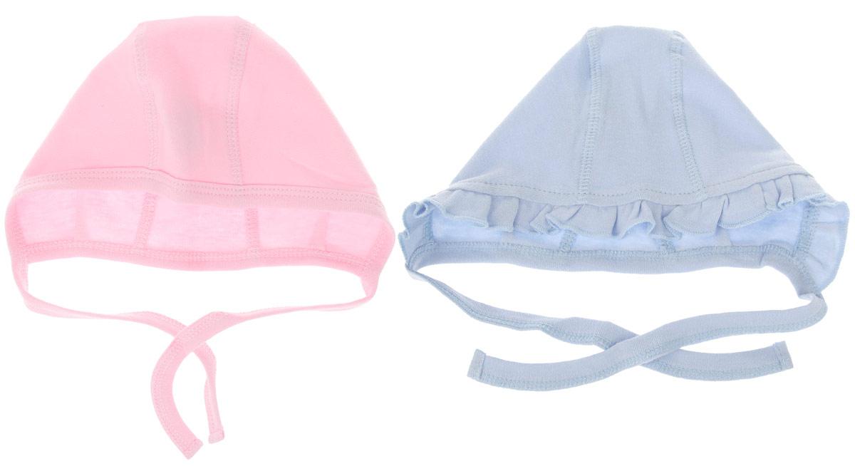 Чепчик для девочки PlayToday Baby, цвет: розовый, голубой, 2 шт. 168808. Размер 44168808Чепчик для девочки PlayToday Baby идеально подойдет вашей малышке. Чепчик изготовлен из натурального хлопка, очень мягкий, позволяет коже дышать, обеспечивая максимальный комфорт. У изделий плоские швы. В комплект входят два чепчика: одна модель по краю оформлена трикотажной бейкой, вторая - украшена оборкой. С помощью завязок можно регулировать обхват головы и шеи.Чепчик необходим любому младенцу, он защищает еще не заросший родничок, щадит чувствительный слух малыша, прикрывая ушки, а также предохраняет от теплопотерь.