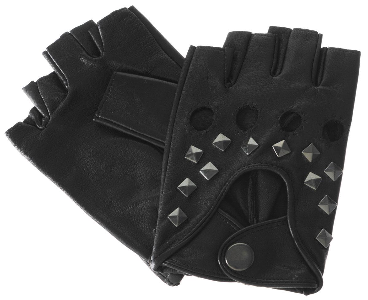 Митенки мужские Eleganzza, цвет: черный. IS204. Размер 8,5IS204Митенки Eleganzza изготовлены из натуральной кожи ягненка. Подкладка из натурального шелка. Декорирована модель металлическими клепками и двумя ремешками на кнопке. На ладонной стороне изделия манжеты присборены на резинку. В отличие от обычных кожаных перчаток, в них рука не теряет гибкости и подвижности, пальцы столь же чувствительны и точны, руку можно сжать в кулак беспрепятственно.