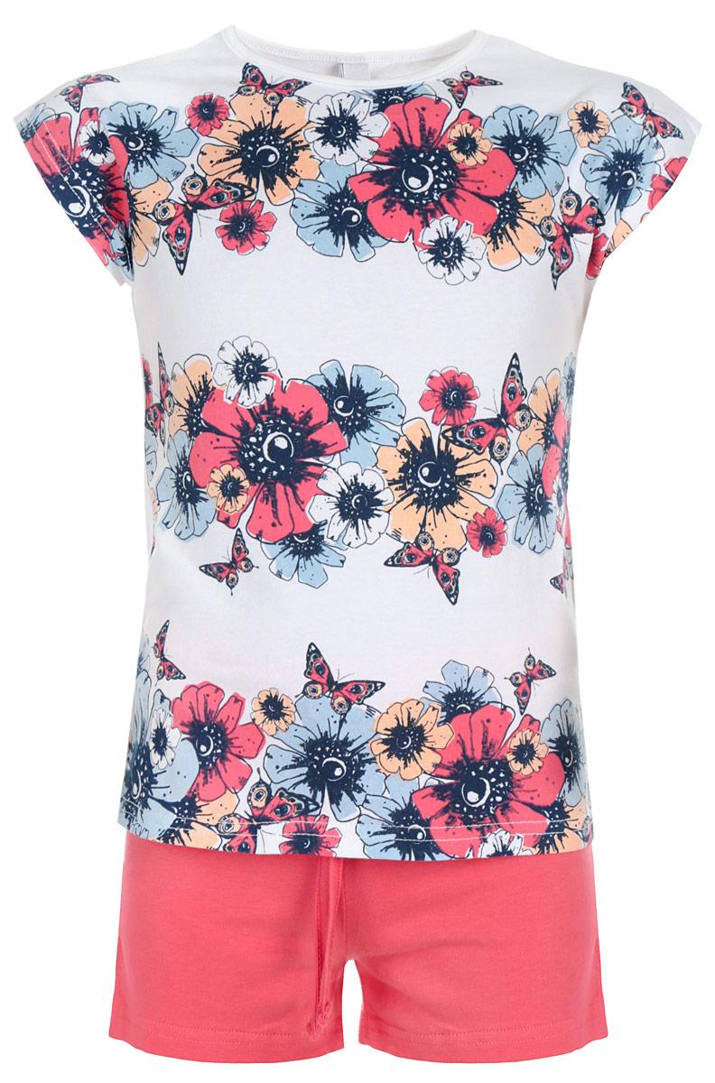 Комплект для девочки PlayToday: футболка, шорты, цвет: белый, темно-синий, розовый. 162116. Размер 104, 4 года162116Комплект для девочки PlayToday, состоящий из футболки и шорт, идеально подойдет вашей доченьке. Изготовленный из эластичного хлопка, он необычайно мягкий и приятный на ощупь, не сковывает движения и позволяет коже дышать, не раздражает даже самую нежную и чувствительную кожу ребенка, обеспечивая ему наибольший комфорт. Футболка стильной конструкции со спущенным плечом, цельнокроеными короткими рукавами и круглым вырезом горловины оформлена яркими цветами и бабочками.Шорты однотонные на талии имеют эластичную резинку с затягивающимся шнурком снаружи, благодаря чему они не сдавливают живот ребенка и не сползают. Оригинальный дизайн и модная расцветка делают этот комплект незаменимым предметом детского гардероба. В нем вашей принцессе будет комфортно и уютно и она всегда будет в центре внимания!