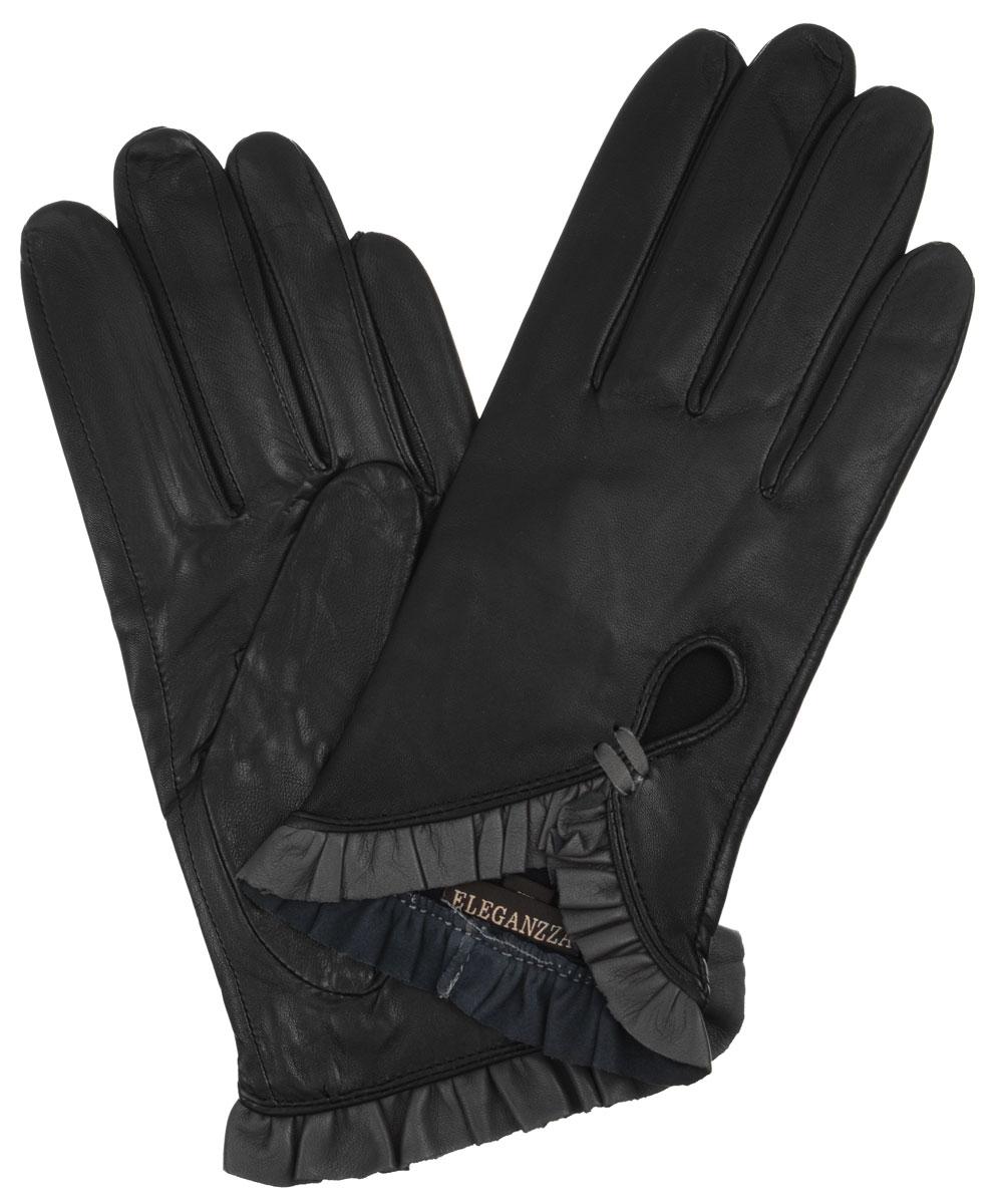 Перчатки женские Eleganzza, цвет: черный. IS501. Размер 6,5IS501Стильные женские перчатки Eleganzza не только защитят ваши руки от холода, но и станут великолепным украшением. Они выполнены из мягкой и приятной на ощупь кожи. Модель оформлена декоративными кожаными рюшами на манжетах и вырезом на лицевой стороне. Такие перчатки станут идеальным аксессуаром, дополняющим ваш стиль и неповторимость.