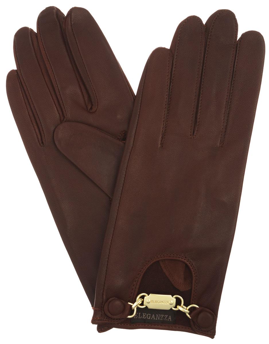 Перчатки женские Eleganzza, цвет: рыже-коричневый. HP038. Размер 6,5HP038Стильные женские перчатки Eleganzza помогут правильно расставить модные акценты в вашем образе. Они выполнены из мягкой и приятной на ощупь кожи ягненка. На внешней стороне - декоративный вырез с металлической фурнитурой золотистого цвета. Фурнитура крепится на кнопки, обтянутые кожей. Такие перчатки станут идеальным аксессуаром, дополняющим ваш стиль и неповторимость.