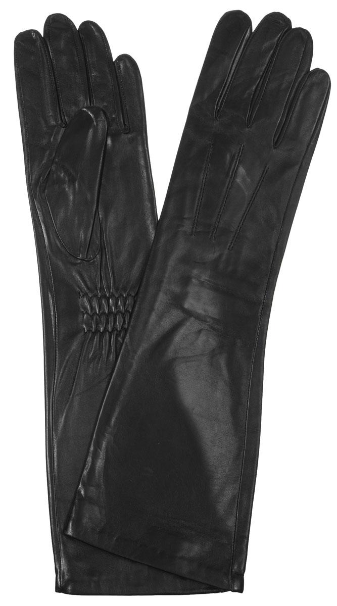 Перчатки женские Eleganzza, цвет: черный. IS598. Размер 6,5IS598Элегантные удлиненные женские перчатки Eleganzza станут великолепным дополнением вашего образа и защитят ваши руки от холода и ветра во время прогулок.Перчатки выполнены из натуральной кожи ягненка. На внешней стороне - шов 3 луча. Тыльная сторона дополнена резинкой для оптимальной посадки модели на руке. Такие перчатки будут оригинальным завершающим штрихом в создании современного модного образа, они подчеркнут ваш изысканный вкус и станут незаменимым и практичным аксессуаром.