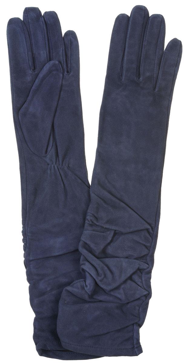 Перчатки женские Eleganzza, цвет: темно-синий. IS02010. Размер 6,5IS02010Элегантные удлиненные женские перчатки Eleganzza станут великолепным дополнением вашего образа и защитят ваши руки от холода и ветра во время прогулок.Перчатки выполнены из натурального велюра. Модель оформлена декоративной сборкой на манжете. Подкладка из натурального шелка. Такие перчатки будут оригинальным завершающим штрихом в создании современного модного образа, они подчеркнут ваш изысканный вкус и станут незаменимым и практичным аксессуаром.