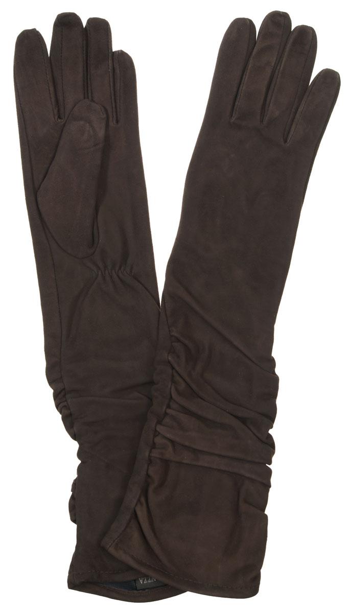 Перчатки женские Eleganzza, цвет: темно-коричневый. IS02010. Размер 6,5IS02010Элегантные удлиненные женские перчатки Eleganzza станут великолепным дополнением вашего образа и защитят ваши руки от холода и ветра во время прогулок.Перчатки выполнены из натурального велюра. Модель оформлена декоративной сборкой на манжете. Подкладка из натурального шелка. Такие перчатки будут оригинальным завершающим штрихом в создании современного модного образа, они подчеркнут ваш изысканный вкус и станут незаменимым и практичным аксессуаром.
