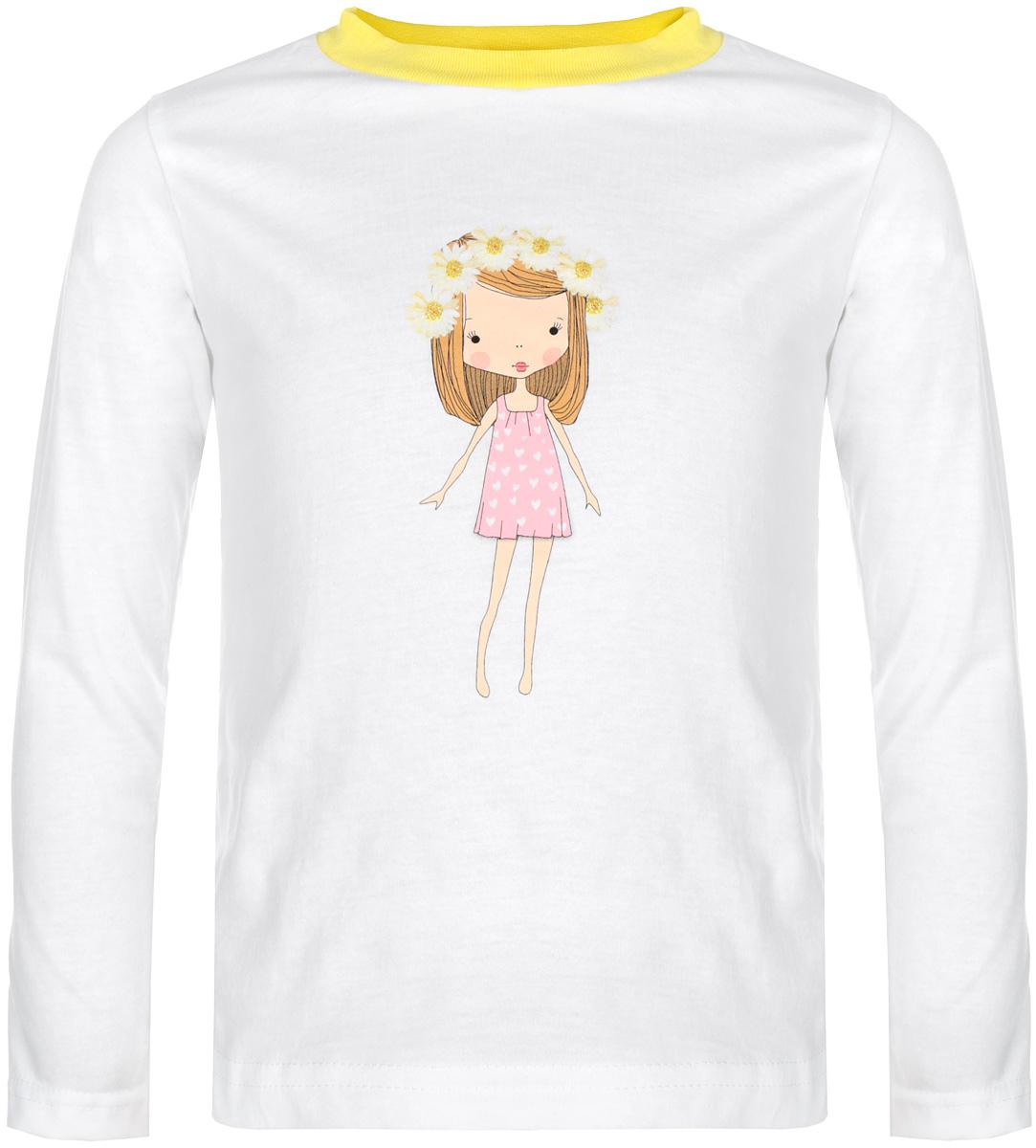 Футболка с длинным рукавом для девочки КотМарКот, цвет: белый, желтый. 15562. Размер 86, 18 месяцев15562Стильная футболка с длинным рукавом для девочки КотМарКот идеально подойдет вашей моднице. Изготовленная из натурального хлопка, она мягкая и приятная на ощупь, не сковывает движения и позволяет коже дышать, не раздражает даже самую нежную и чувствительную кожу ребенка, обеспечивая наибольший комфорт. Футболка прямого кроя с длинными рукавами и круглым вырезом горловины оформлена изображением очаровательной девочки с венком на голове, украшена блестками. Вырез горловины дополнен трикотажной эластичной резинкой.Современный дизайн и модная расцветка делают эту футболку стильным предметом детского гардероба. В ней ваша принцесса будет чувствовать себя уютно и комфортно, и всегда будет в центре внимания!
