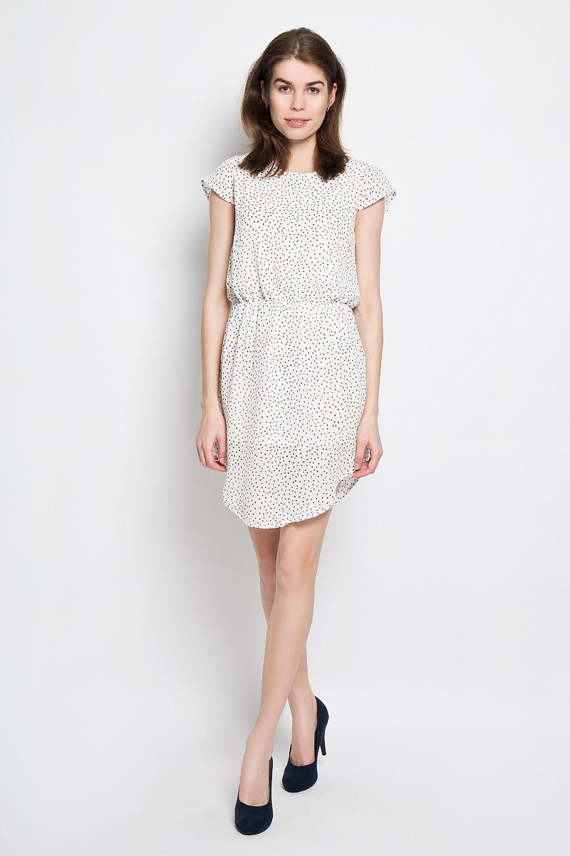 Платье Baon, цвет: белый, графитовый. B456105. Размер S (44)B456105Платье Baon станет модным и стильным дополнением к вашему летнему гардеробу. Выполненное из полиэстера, оно легкое и воздушное, приятное на ощупь, не сковывает движений, хорошо вентилируется.Модель с круглым вырезом горловины и короткими рукавами-крылышками застегивается сзади на пуговицу. На талии платье присборено на эластичную резинку. Низ модели закруглен. Оформлено изделие мелким принтом по всей поверхности.Эффектное платье поможет создать яркий и привлекательный образ, а также подарит вам комфорт.