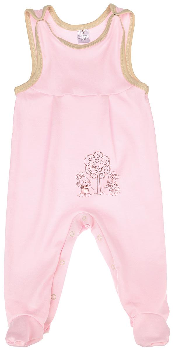 Ползунки для девочки КотМарКот, цвет: розовый. 3389. Размер 86, 12-18 месяцев3389Полукомбинезон КотМарКот - удобный и практичный вид одежды для ребенка, который идеально подходит для сна и отдыха. Полукомбинезон выполнен из натурального хлопка, благодаря чему он очень мягкий и приятный на ощупь, не раздражает нежную кожу малыша и хорошо вентилируется. Полукомбинезон с широкими бретелями на кнопках и закрытыми ножками имеет застежки-кнопки на ластовице до щиколоток, которые помогают легко переодеть младенца или сменить подгузник. Вырез горловины и проймы дополнены мягкой контрастной бейкой. Изделие оформлено очаровательным рисунком зайчиков, стоящих у дерева. Комфортный и уютный комбинезон станет незаменимым дополнением к гардеробу вашего малыша. Изделие полностью соответствует особенностям жизни младенца в ранний период, не стесняя и не ограничивая его в движениях.
